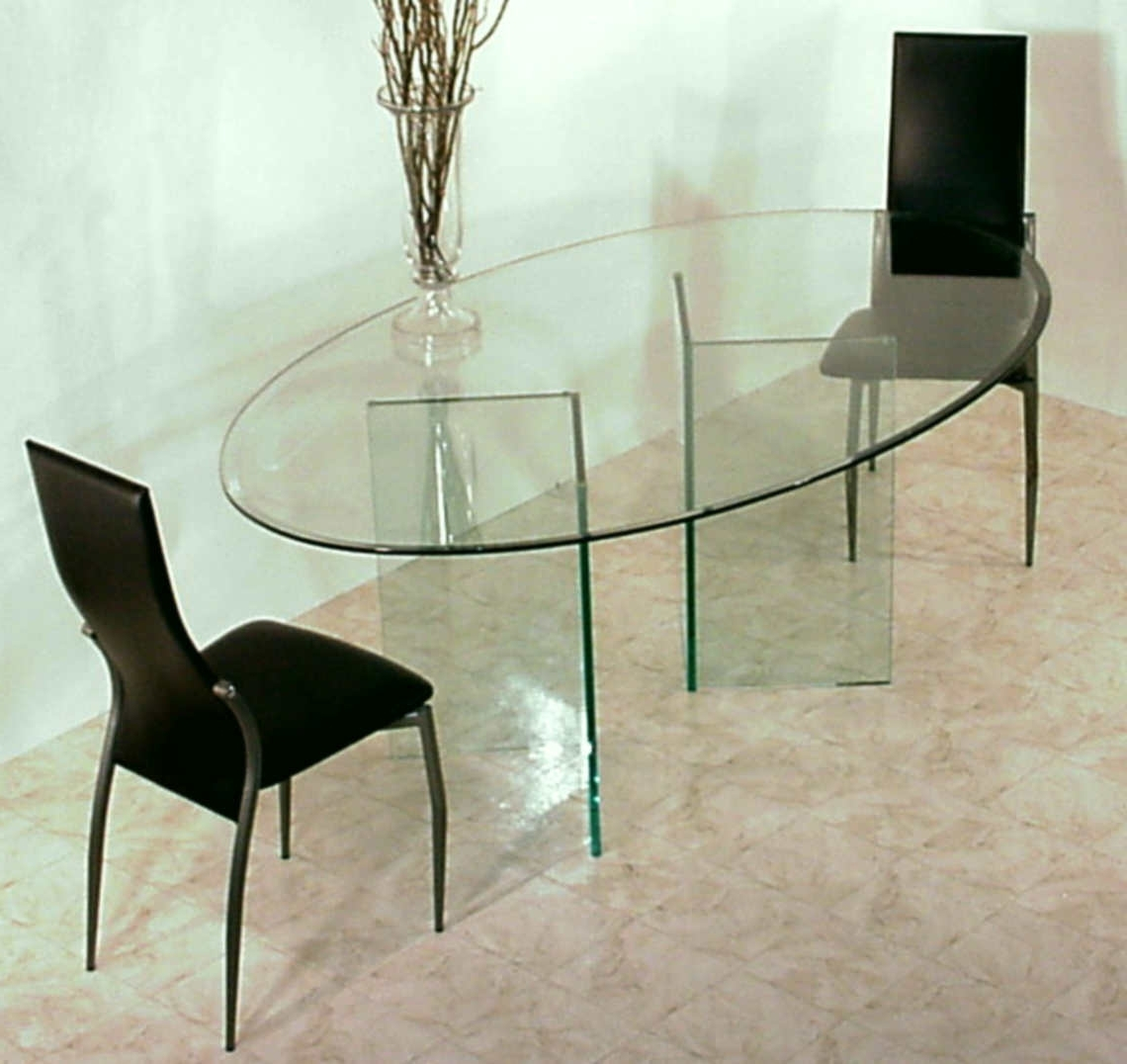 Oval Glass Top Dining Table With Double Curved Glass Bases On Beige Intended For 2018 Curved Glass Dining Tables (View 17 of 25)