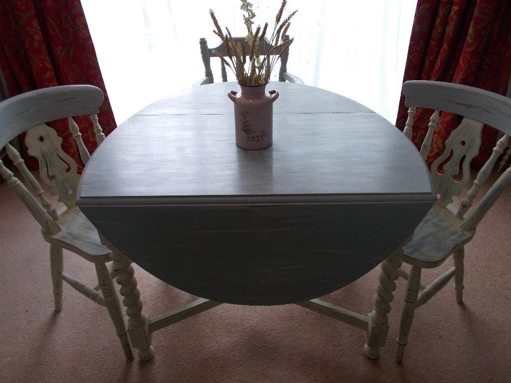Oval Oak Dining Tables And Chairs With Preferred Oval Oak Dining Table With Three Chairs. Shabby Chic (View 18 of 25)