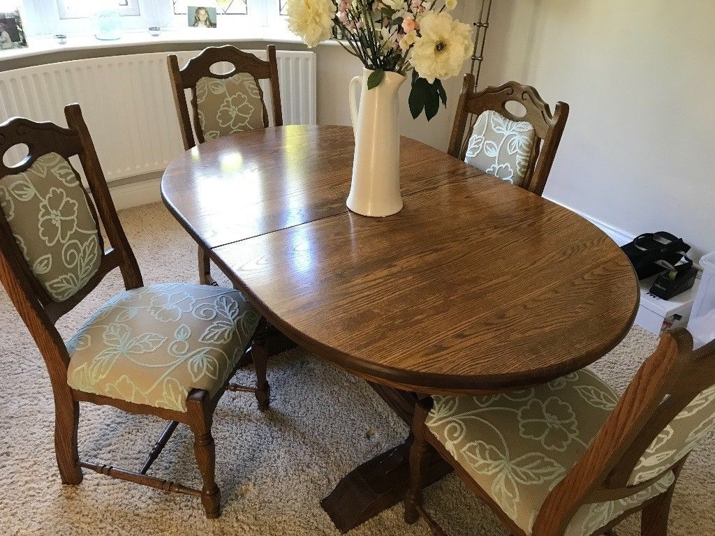 Oval Oak Extendable Dining Table, Four Cushioned Matching Oaks Intended For Newest Oval Oak Dining Tables And Chairs (View 9 of 25)
