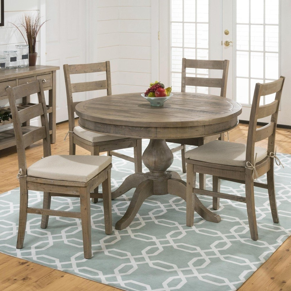 Oval Reclaimed Wood Dining Tables Intended For Most Up To Date Slater Mill Pine Reclaimed Pine Round To Oval 5 Piece Dining Set (View 21 of 25)