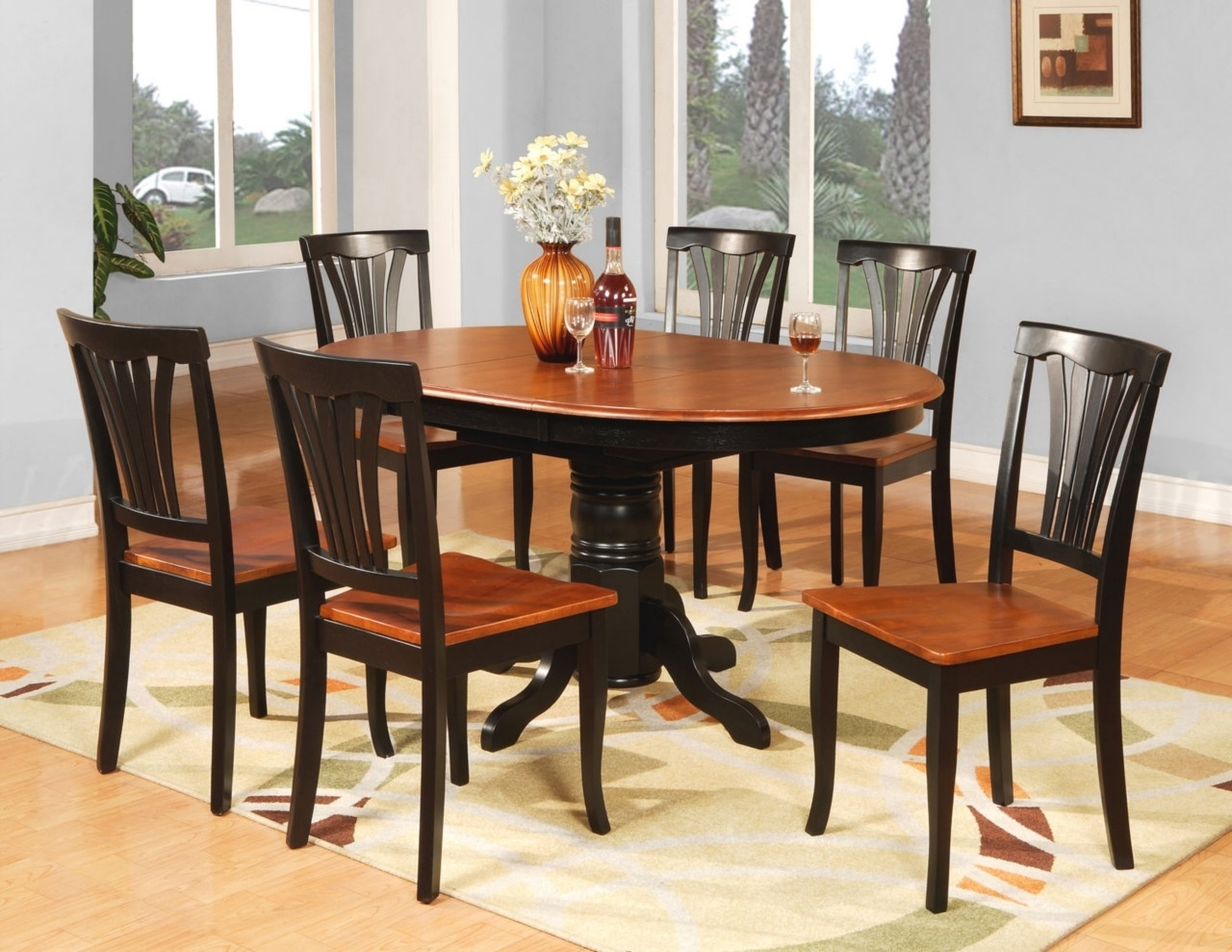 Oval Shape Pedestal Dining Table For 6 With Brown Painted Also Teak With Regard To Popular Wood Dining Tables And 6 Chairs (View 13 of 25)