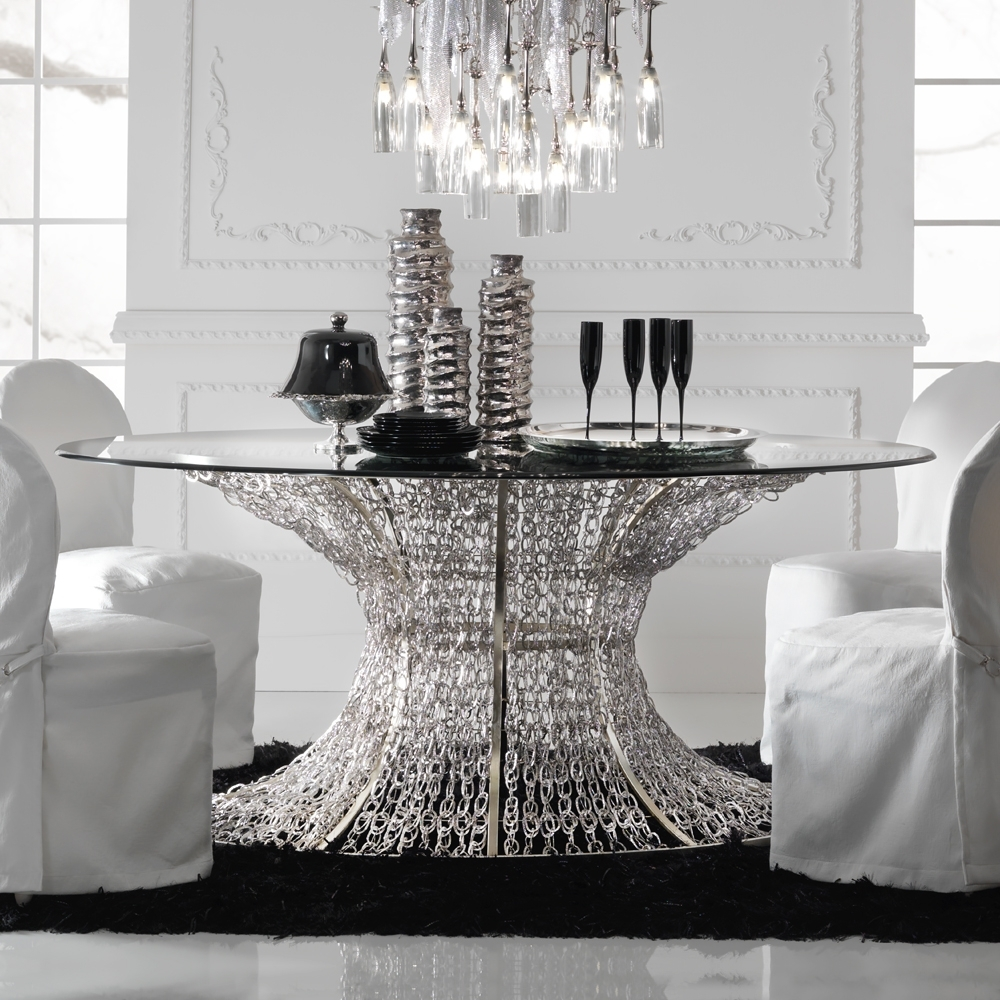 Oval Silver Leaf Smoked Glass Dining Table (View 19 of 25)