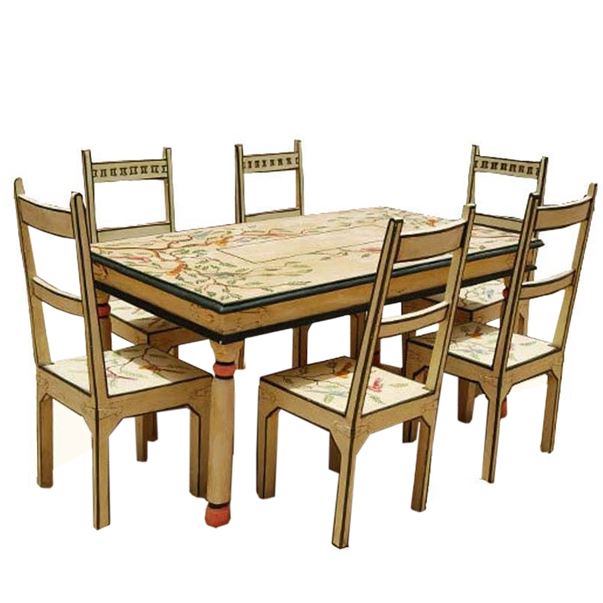 Painted Dining Tables Pertaining To Widely Used Birds Of Paradise Hand Painted 7Pc Country Dining Table And Chair Set (View 18 of 25)