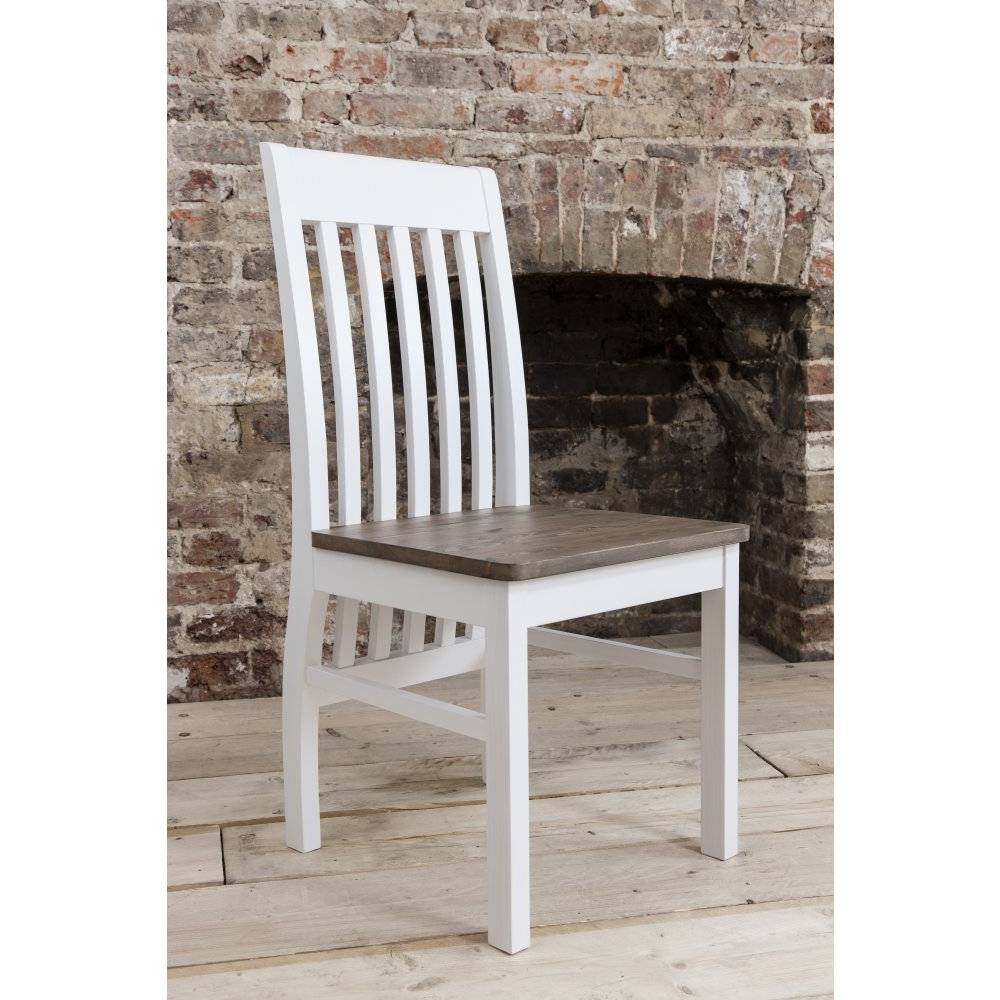 Pair Of Hever Dining Chairs In White & Dark Pine (Gallery 20 of 25)