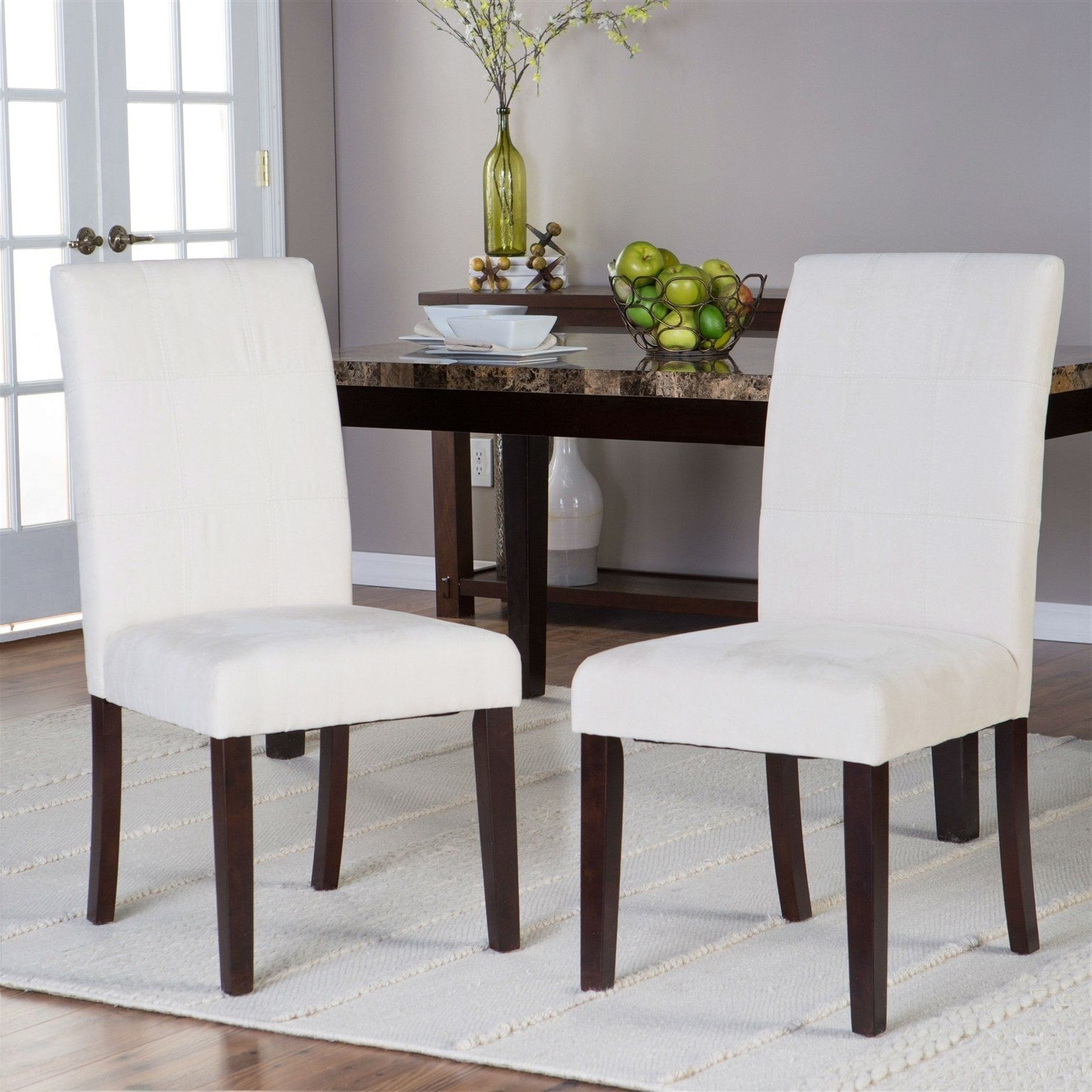 Palazzo 3 Piece Dining Table Sets Regarding 2017 Set Of 2 Light Beige Padded Microfiber Dining Chairs (View 15 of 25)