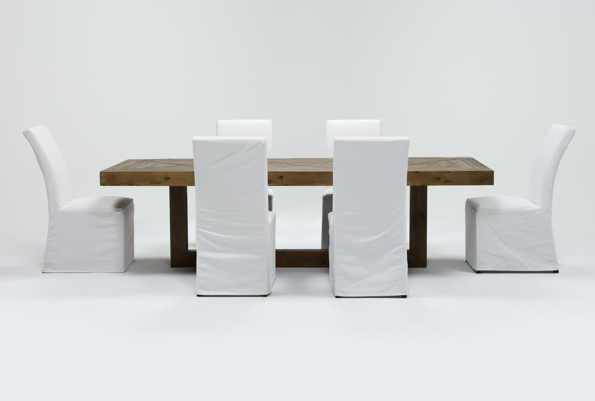 Palazzo 6 Piece Dining Set With Mindy Slipcovered Side Chairs With Regard To 2017 Palazzo 7 Piece Dining Set With Pearson White Side Chairs (Gallery 7 of 25)