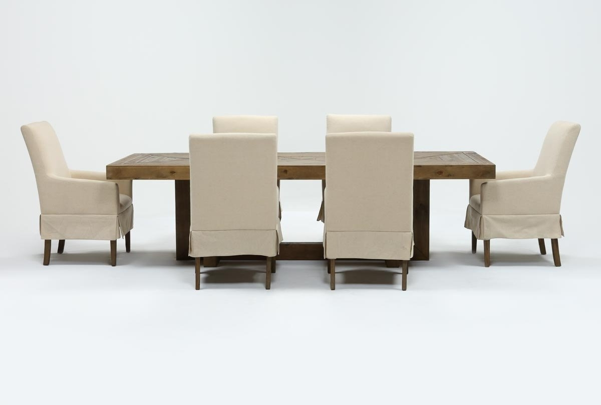 Palazzo 7 Piece Dining Set With Mindy Slipcovered Side Chairs For Current Palazzo 7 Piece Dining Sets With Pearson White Side Chairs (View 14 of 25)