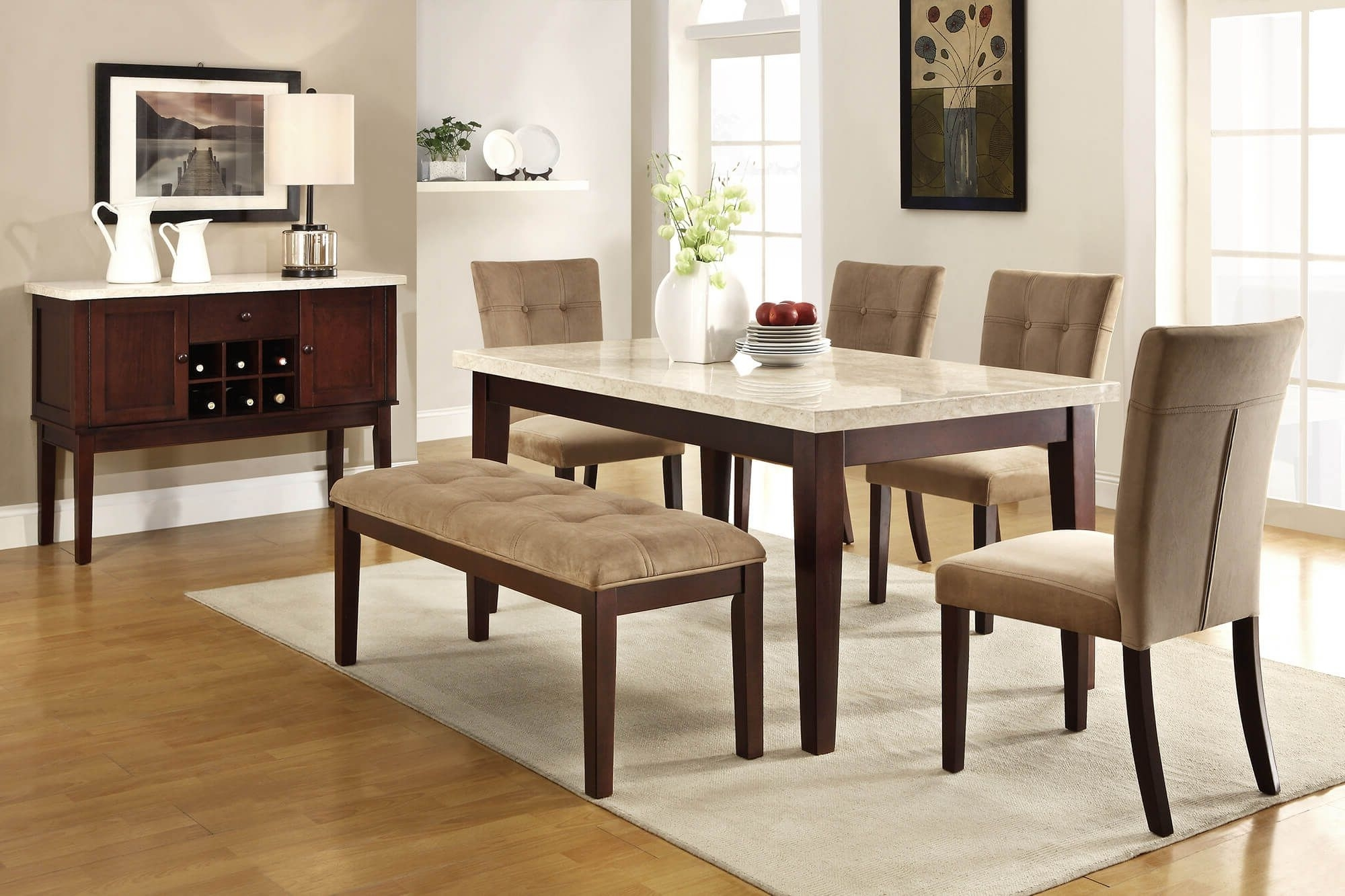 Palazzo 7 Piece Dining Sets With Pearson White Side Chairs For 2017 26 Dining Room Sets (Big And Small) With Bench Seating (2018) (View 8 of 25)