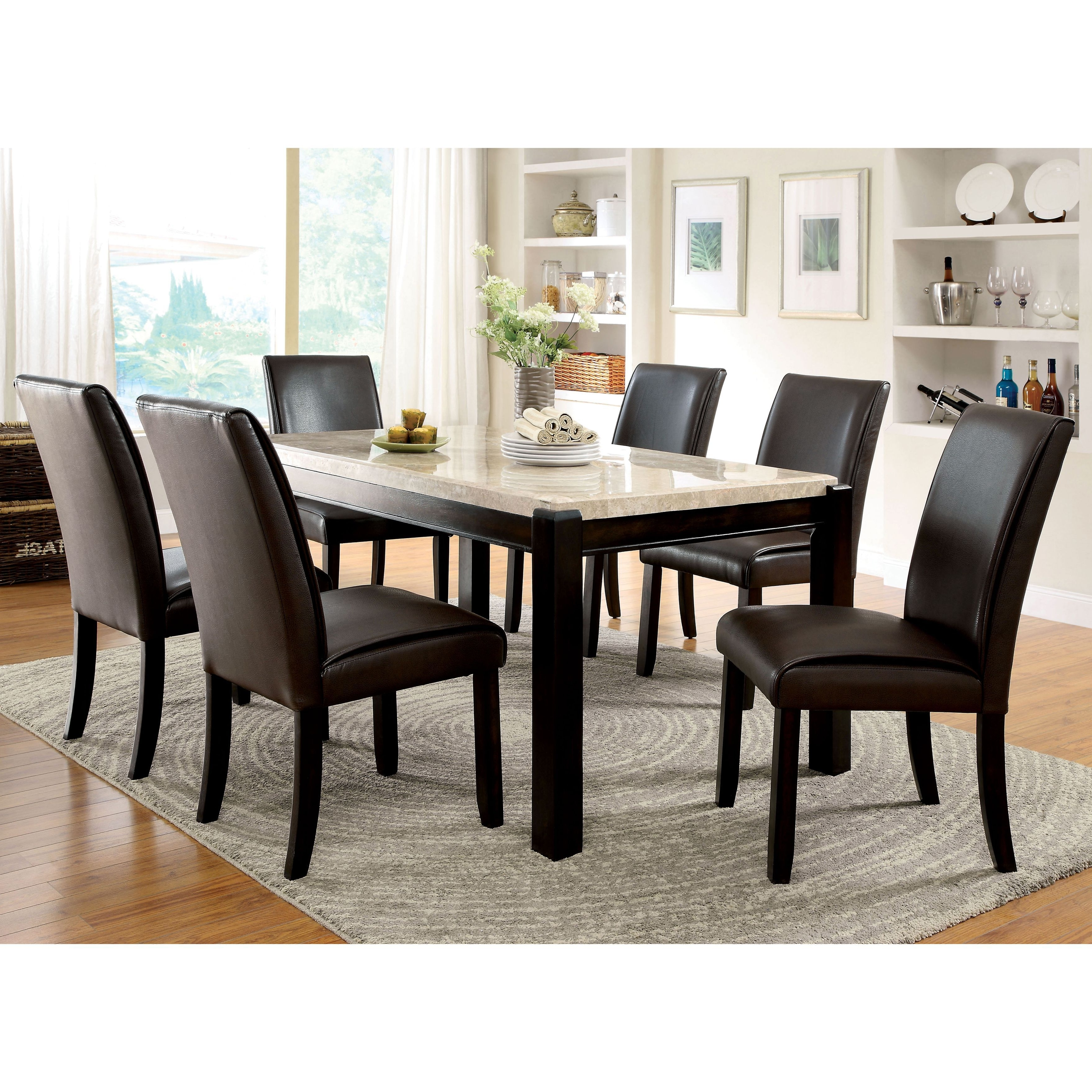 Palazzo 7 Piece Rectangle Dining Sets With Joss Side Chairs With Trendy Furniture Of America Joreth 7 Piece Dark Walnut (Brown) Dining Set (View 4 of 25)