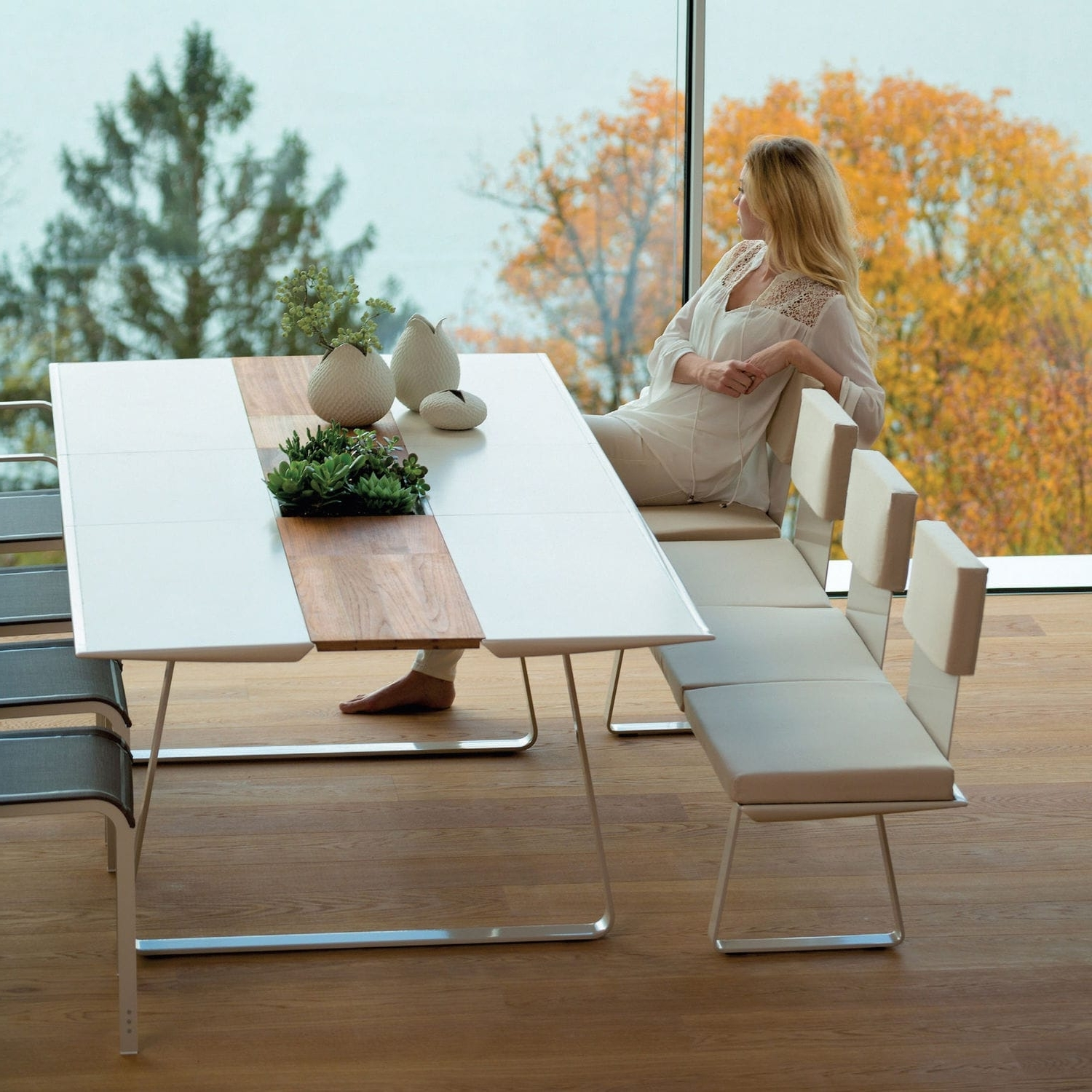 Paris Dining Tables In Popular Contemporary Dining Table / Corian® / Teak / Ceramic – Extrados (View 22 of 25)
