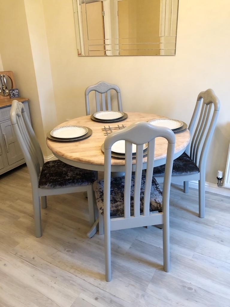 Paris Dining Tables Intended For Most Recent Oak Round Dining Table & 4 Chairs, Annie Sloan, Paris Grey (View 20 of 25)