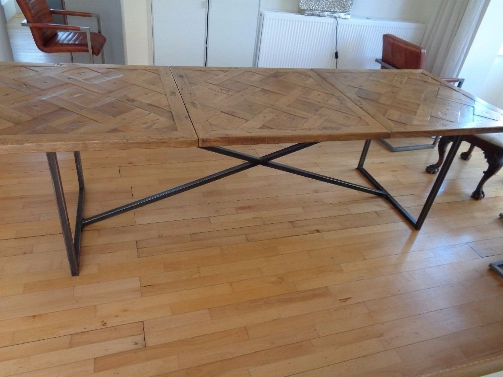 Parquet 6 Piece Dining Sets Intended For 2017 Large Industrial Reclaimed Parquet Top Dining Table Ex Barker (Gallery 24 of 25)