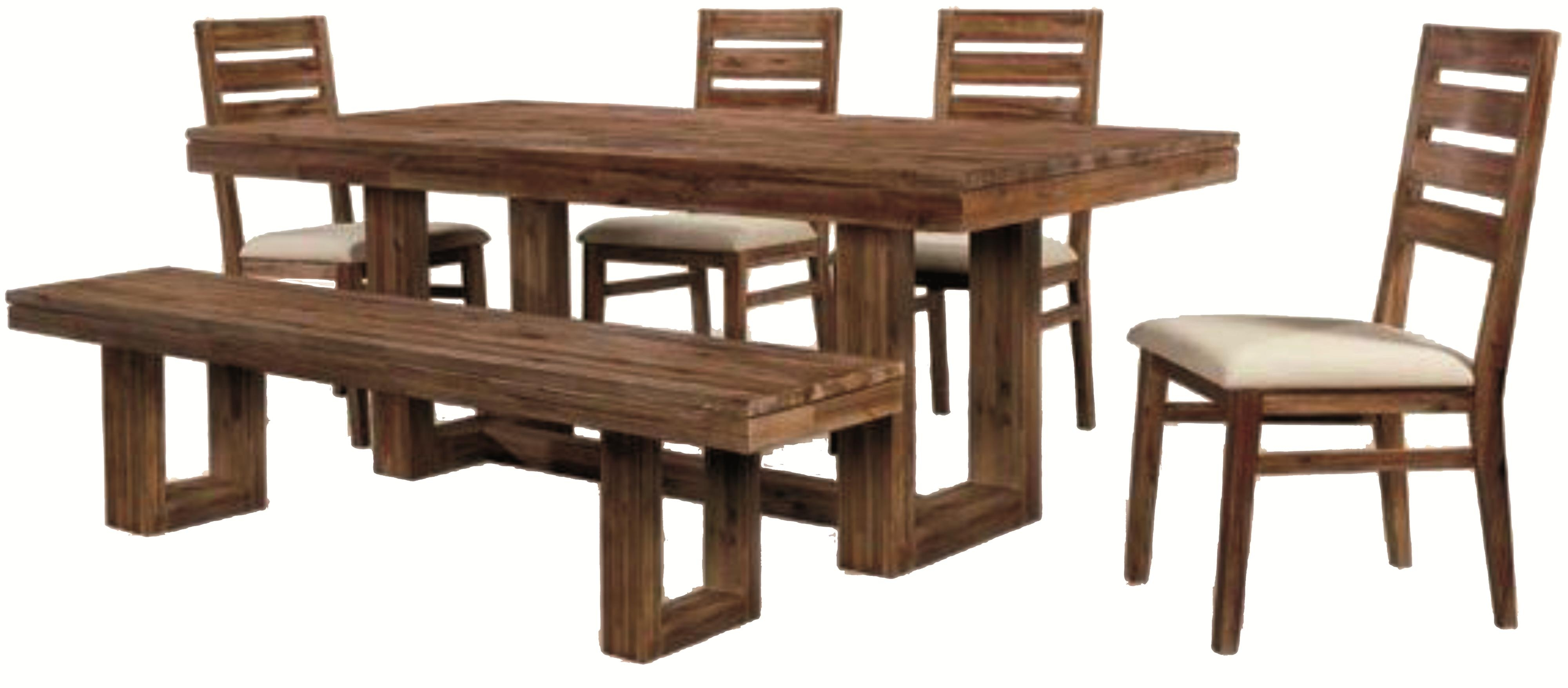 Parquet 6 Piece Dining Sets Intended For Current Six Piece Modern Rustic Rectangular Trestle Table With Ladderback (View 9 of 25)