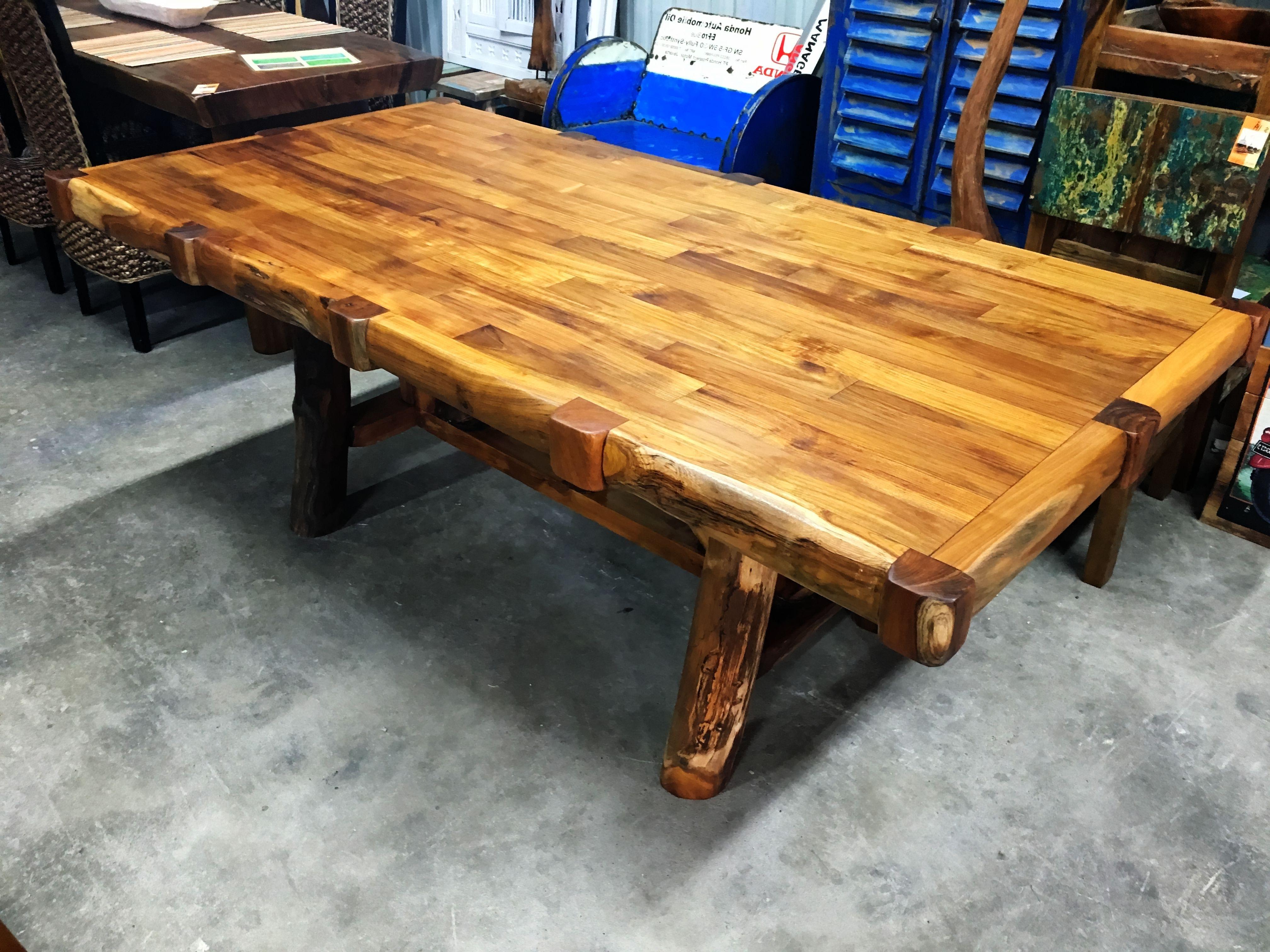 Parquet 7 Piece Dining Sets Regarding Recent Solid Teak Parquet Dining Table – Branch Style Legs (View 15 of 25)