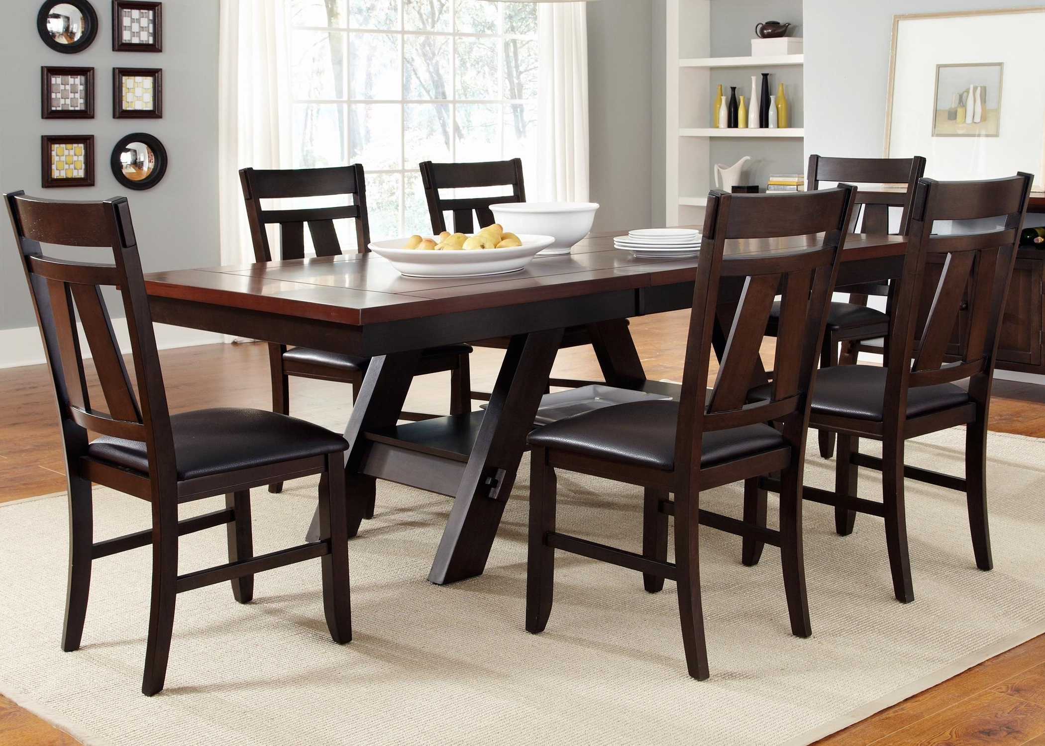Parquet 7 Piece Dining Sets Throughout Favorite 7 Piece Rectangular Trestle Table And Splat Back Chairs Set (Gallery 13 of 25)
