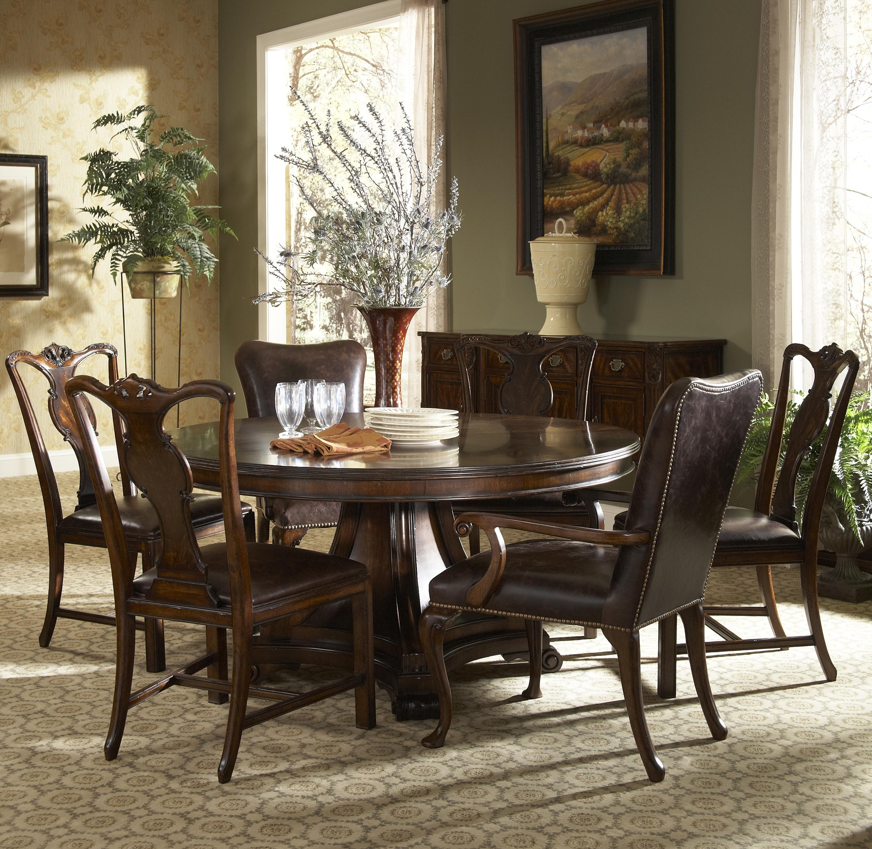 Parquet 7 Piece Dining Sets Throughout Trendy 7 Piece Round Dining Table With Splat Back Dining Side Chairs And (Gallery 10 of 25)