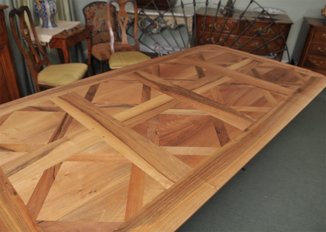 Parquet Dining Table With Iron Base For Sale At 1Stdibs Within Best And Newest Parquet Dining Tables (View 8 of 25)