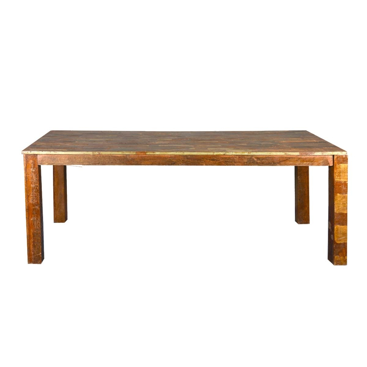 Parquet Dining Tables Throughout Favorite Rustic Parquet Top Reclaimed Wood Dining Table (View 15 of 25)