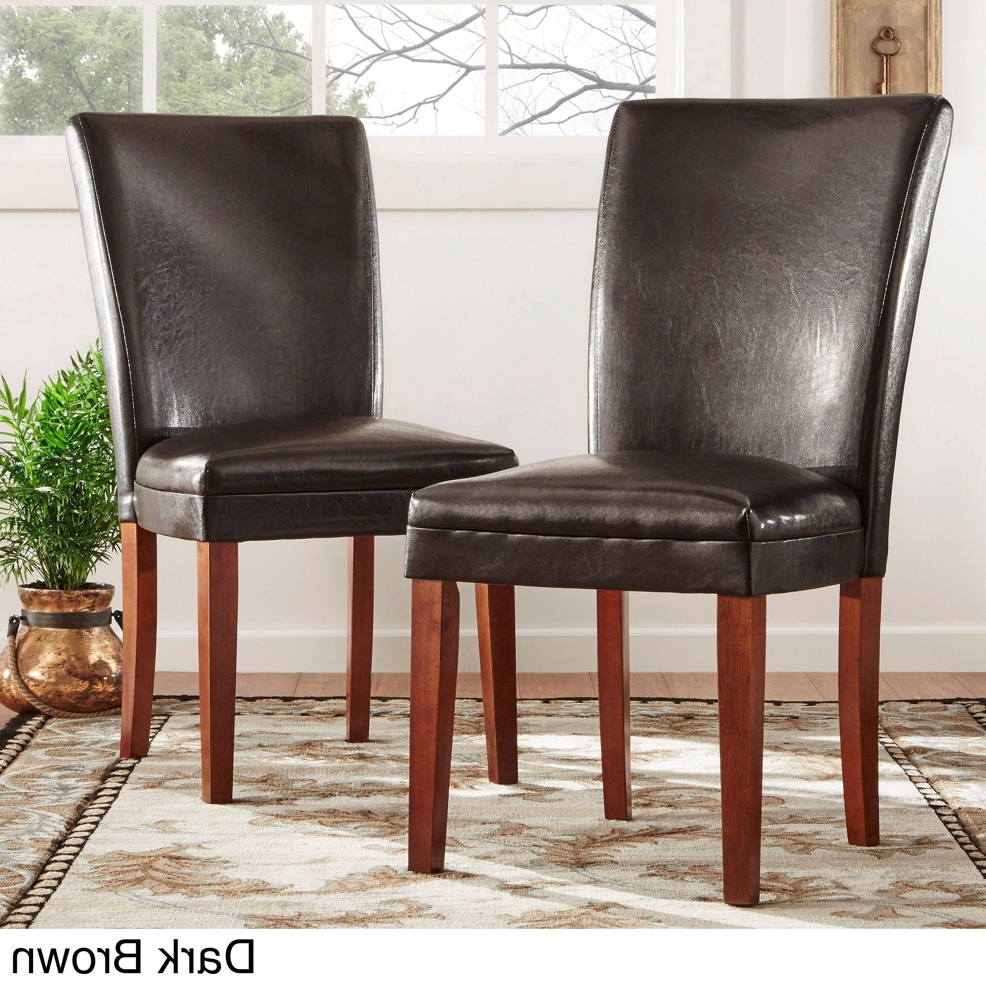 Parson Faux Leather Side Chairs (Set Of 2)Tribecca Home (Dark Pertaining To 2017 Dark Brown Leather Dining Chairs (View 8 of 25)