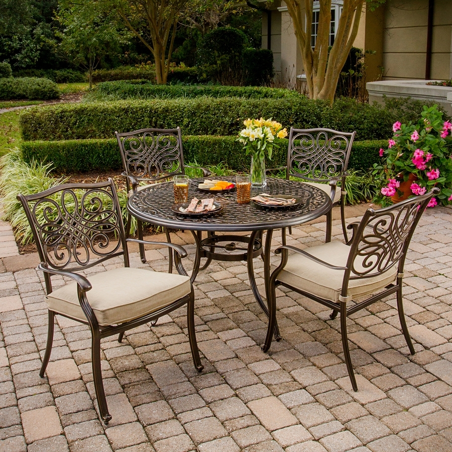 Patio: Amusing Lowes Outdoor Dining Sets Patio Table And Chairs Pertaining To Most Popular Outdoor Dining Table And Chairs Sets (View 10 of 25)