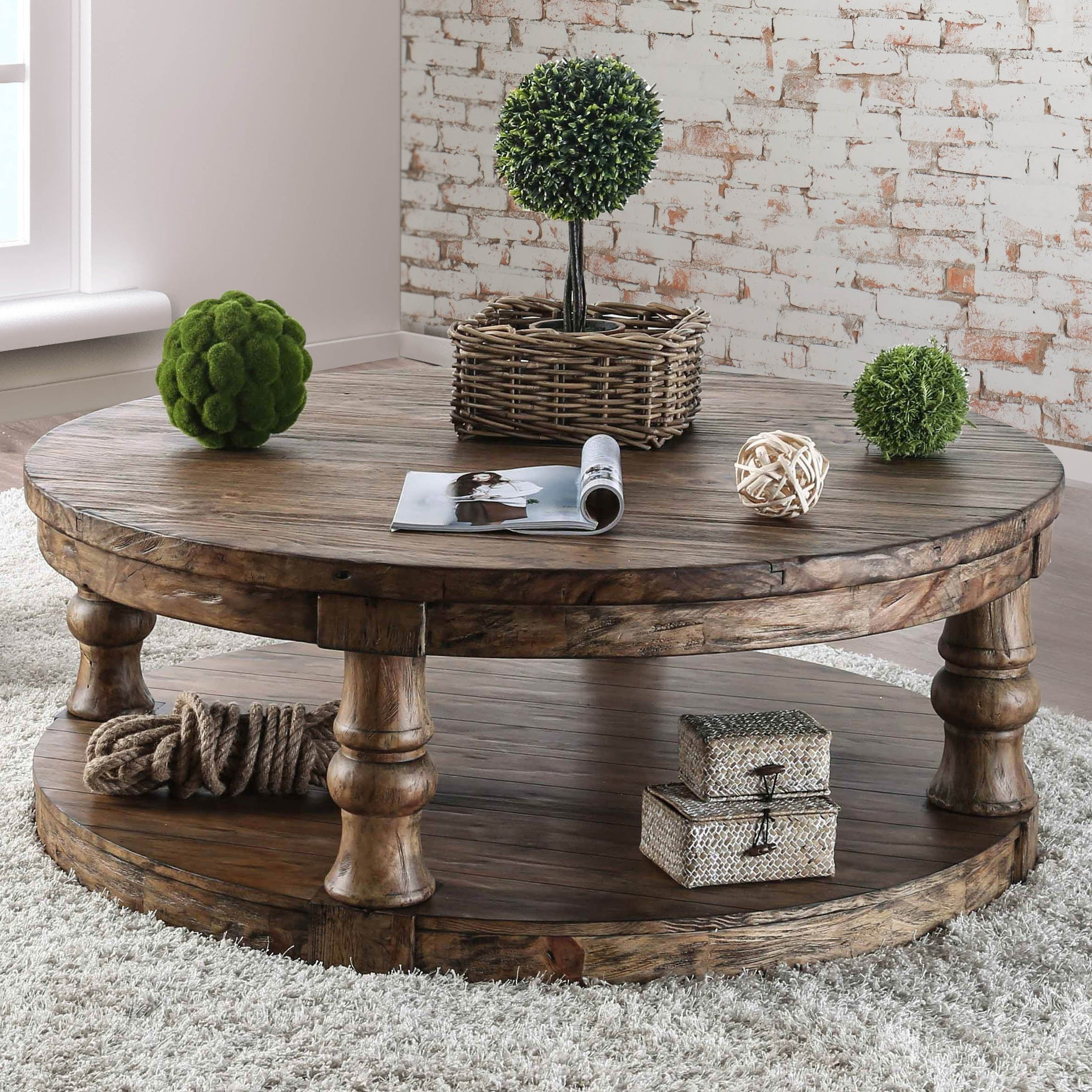 Patterson 6 Piece Dining Sets Throughout Most Recently Released Shop Furniture Of America Patterson Rustic Round Coffee Table – On (Gallery 25 of 25)