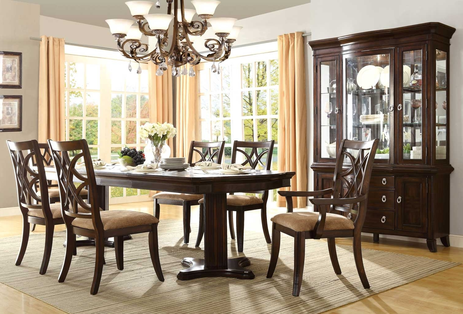 Pedestal Dining Tables And Chairs Inside Most Popular Homelegance Keegan Double Pedestal Dining Set – Neutral Tone Fabric (Gallery 15 of 25)