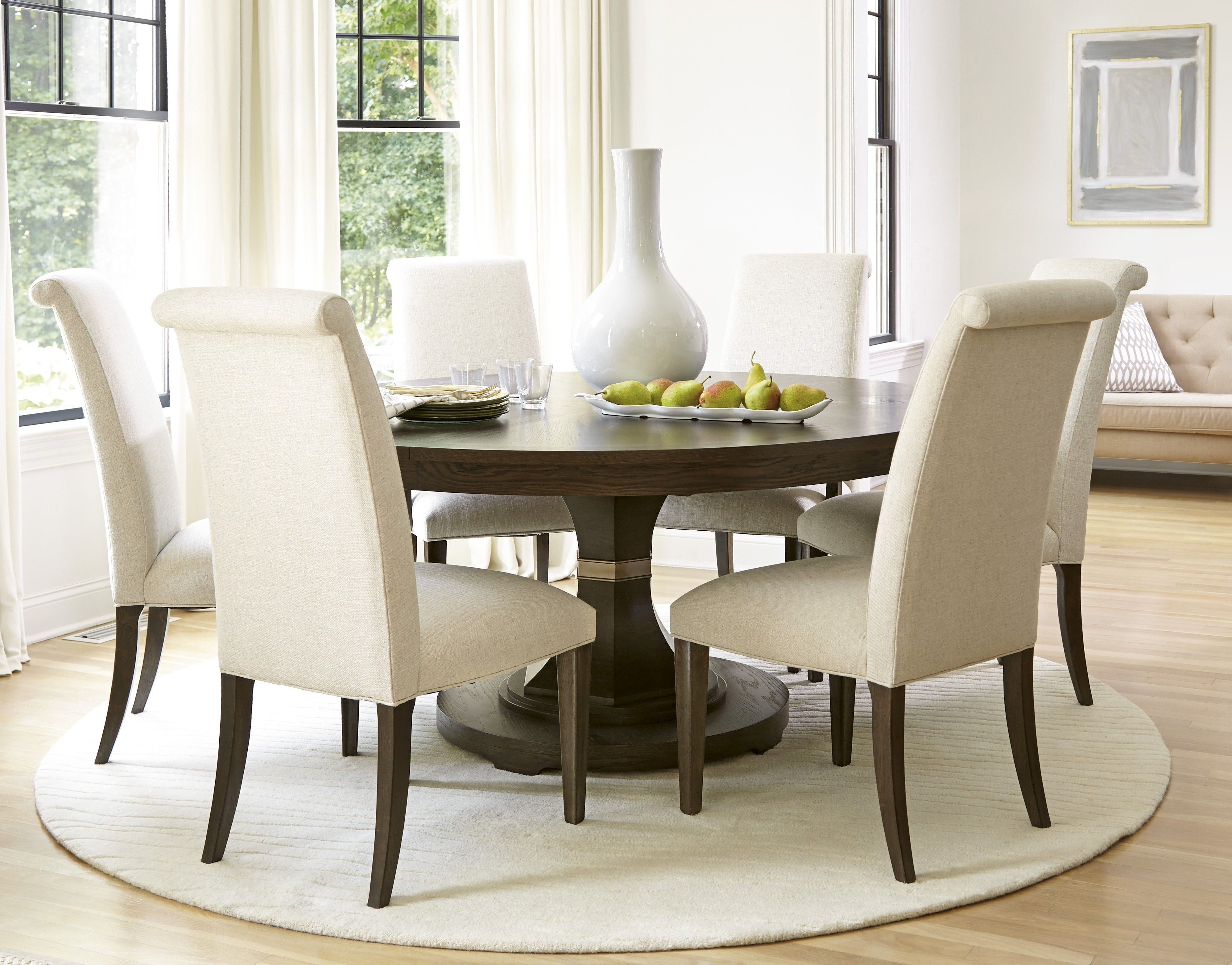 Pedestal Dining Tables And Chairs Throughout Most Up To Date White Round Pedestal Dining Table Set (Gallery 1 of 25)
