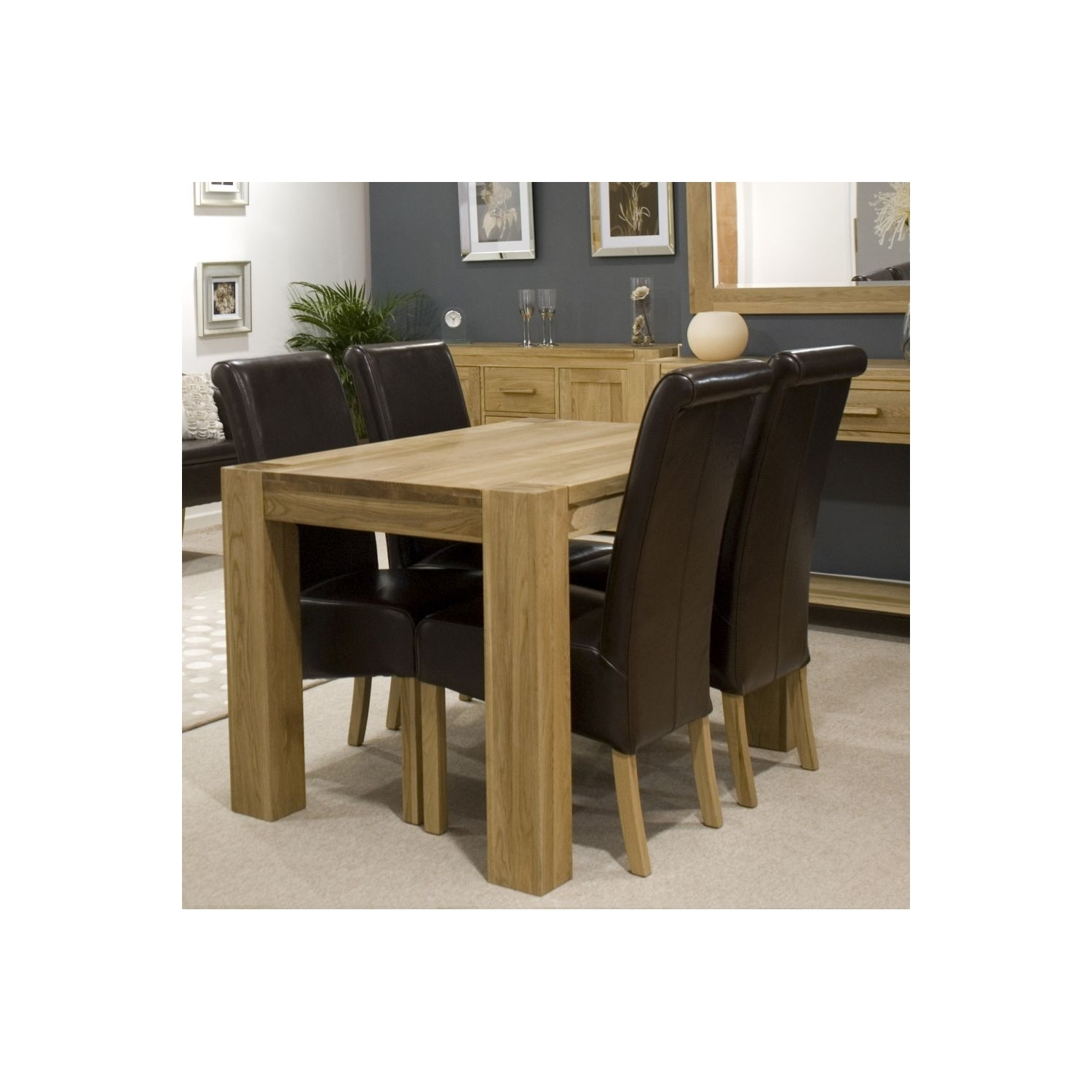 Pemberton Solid Oak Furniture Dining Table With Four Brown Leather Intended For Preferred Oak Furniture Dining Sets (View 13 of 25)