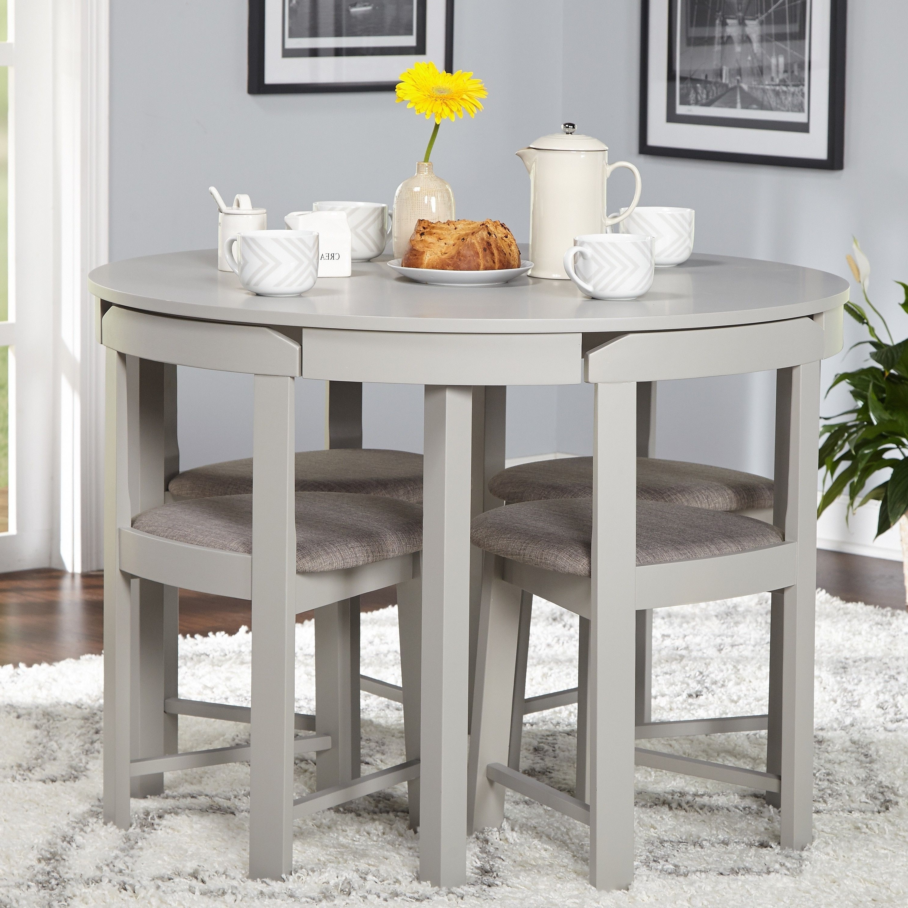 Perfect For Smaller Spaces The 5 Piece Tobey Compact Dining Set Intended For Popular Lassen Extension Rectangle Dining Tables (View 6 of 25)