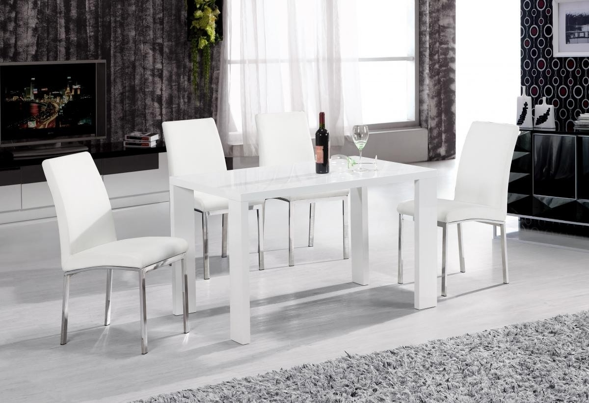 Peru Dining Table White High Gloss 4 Chairs Brixton Beds With Latest White High Gloss Dining Tables And 4 Chairs (View 4 of 25)