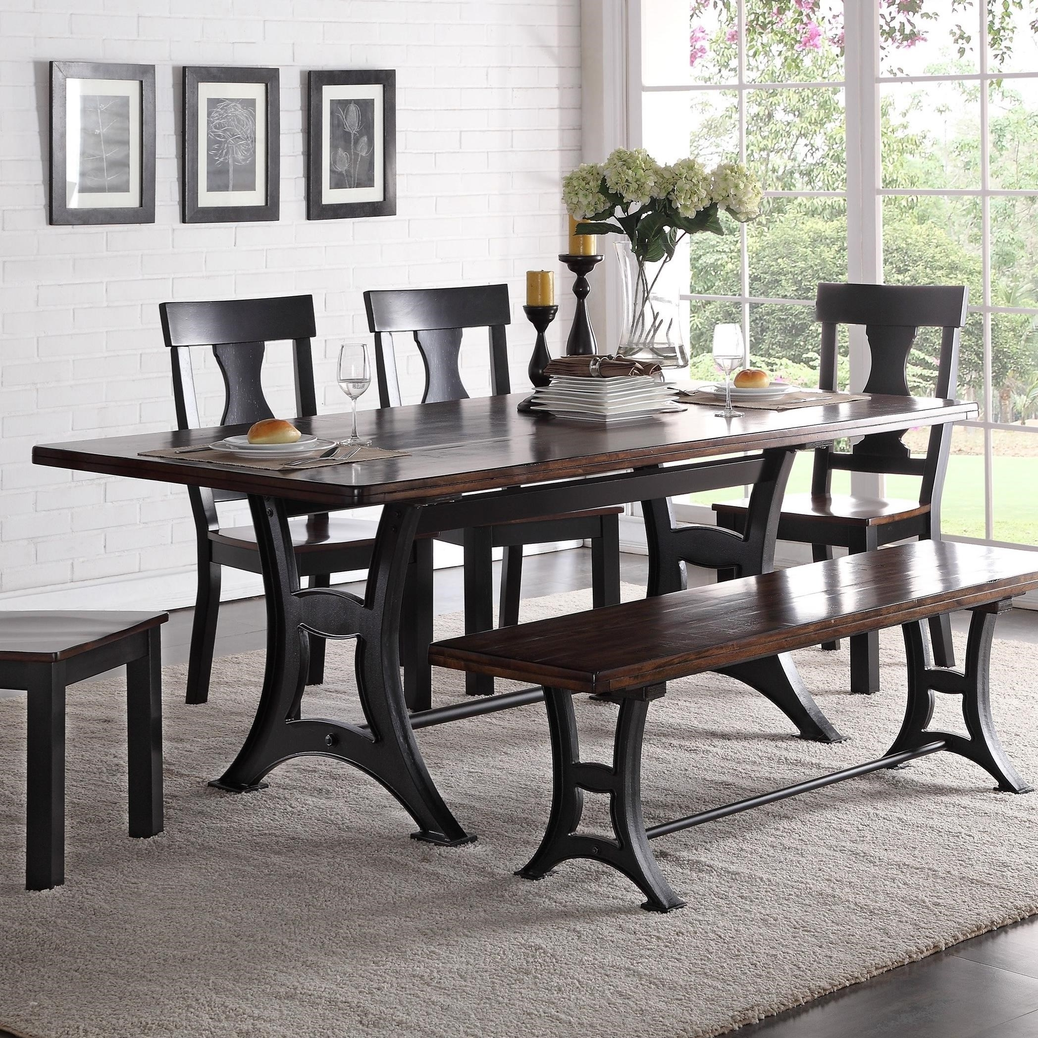 Phoenix Dining Tables Regarding Well Known Crown Mark Astor Industrial Dining Table With Trestle Base And (View 18 of 25)