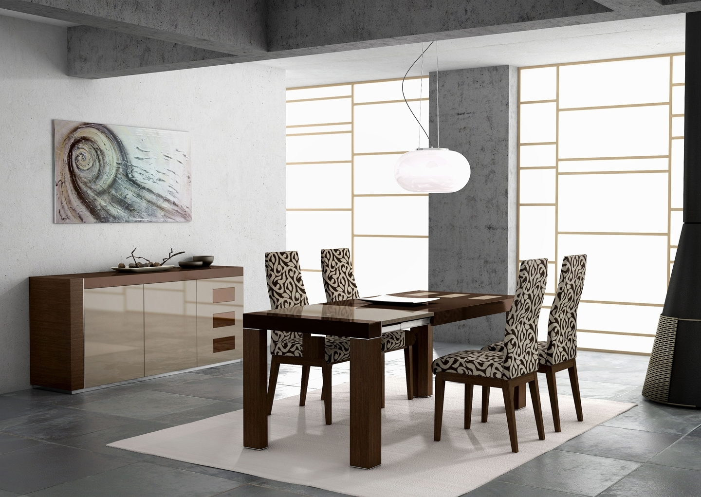 Photos: Irene Table Ada Chairs Lacquered Modern Dining Sets In Favorite Cream Lacquer Dining Tables (View 13 of 25)