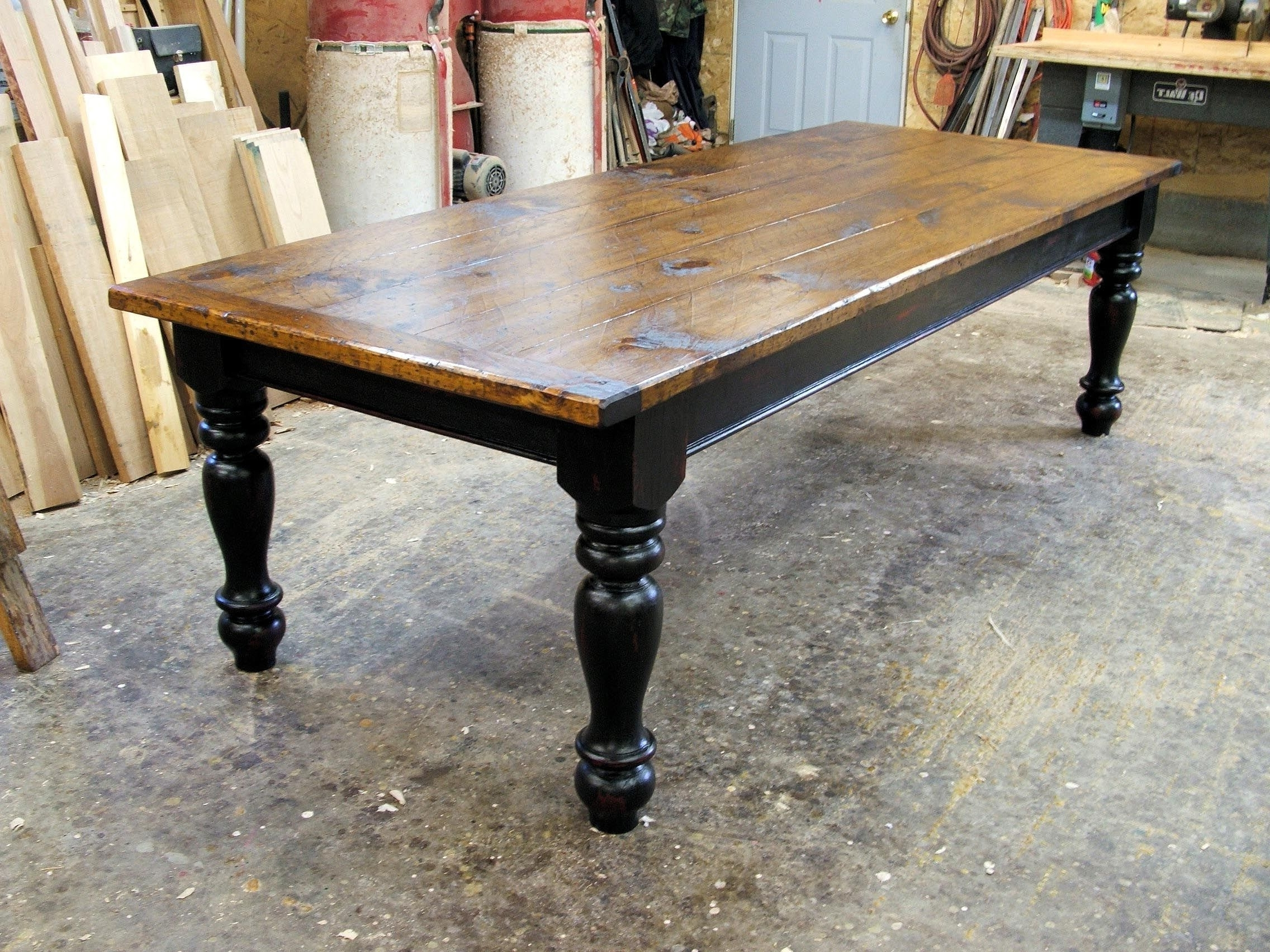 Pine Farmhouse Table With Options – Black With Regard To Newest Farm Dining Tables (View 6 of 25)