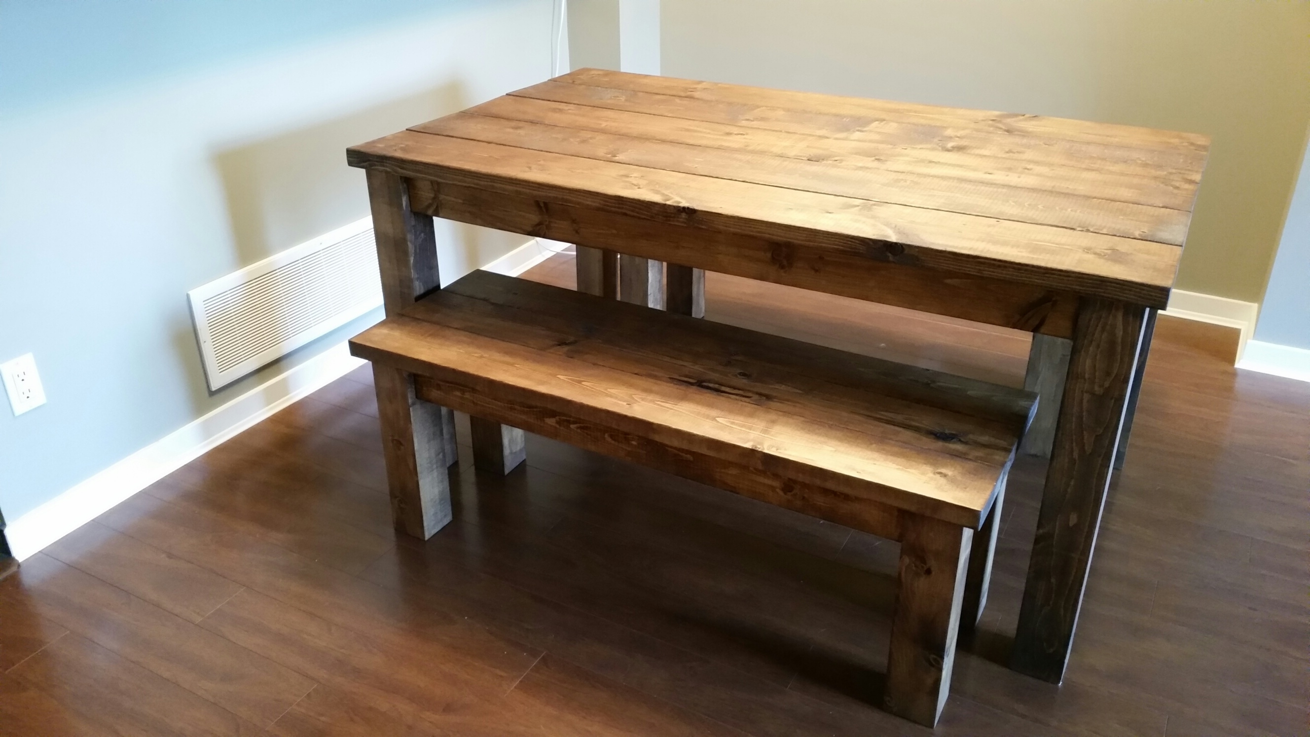 Pine Kitchen Table And Bench Set • Table Setting Design Inside Well Known Hyland 5 Piece Counter Sets With Bench (View 18 of 25)
