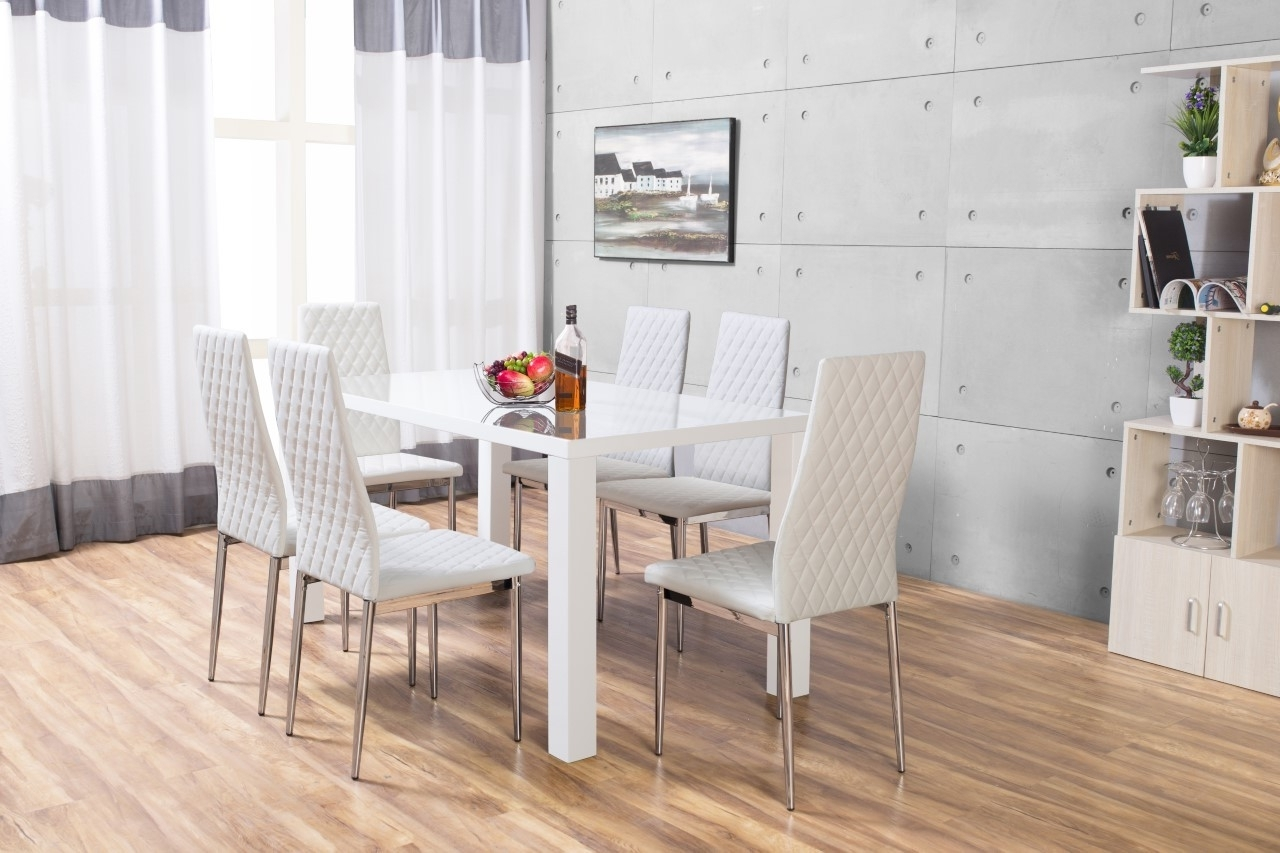 Pivero High Gloss White Dining Set Furniturebox, Hi Gloss Dining Regarding Current Hi Gloss Dining Tables Sets (View 10 of 25)
