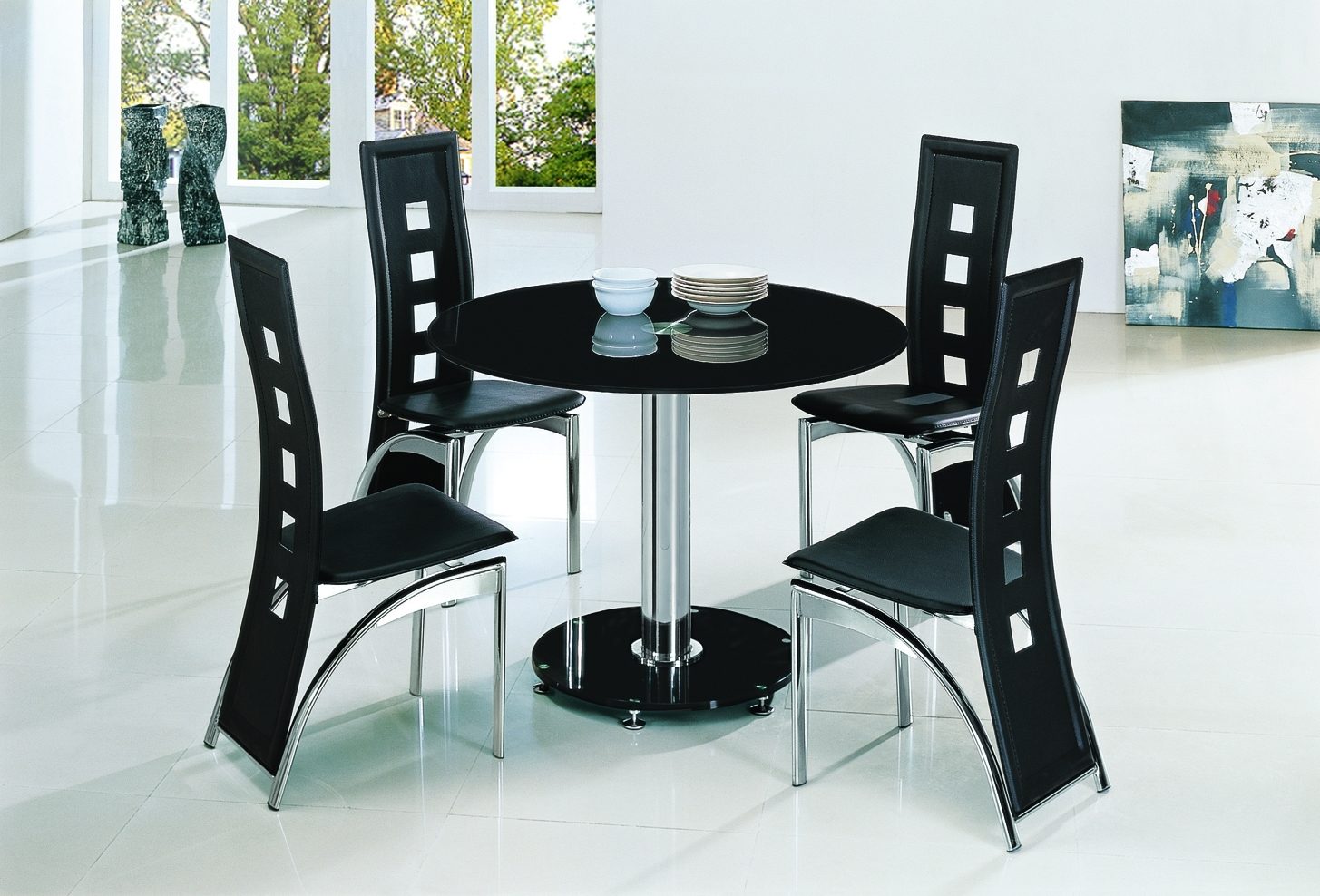 Planet Black Round Glass Dining Table With Ashley Chairs – Implex Inside Well Known Black Glass Dining Tables (View 14 of 25)