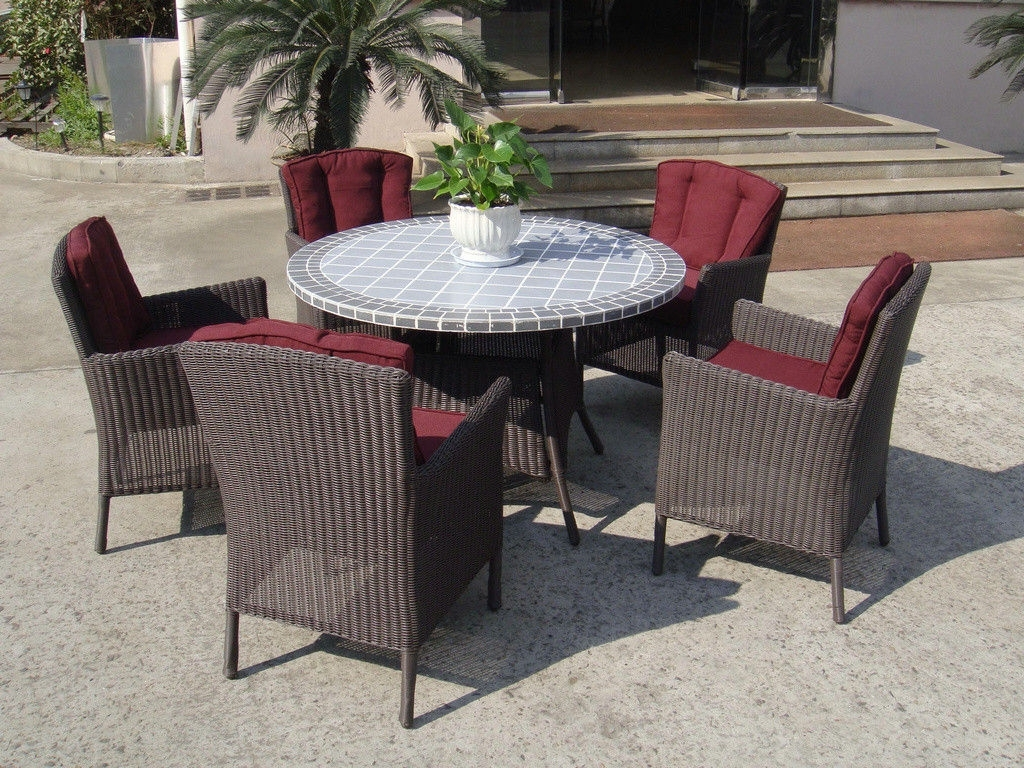 Plastic Rattan Garden Dining Sets , Strong Brown Dining Table Set Regarding Famous Garden Dining Tables (View 16 of 25)