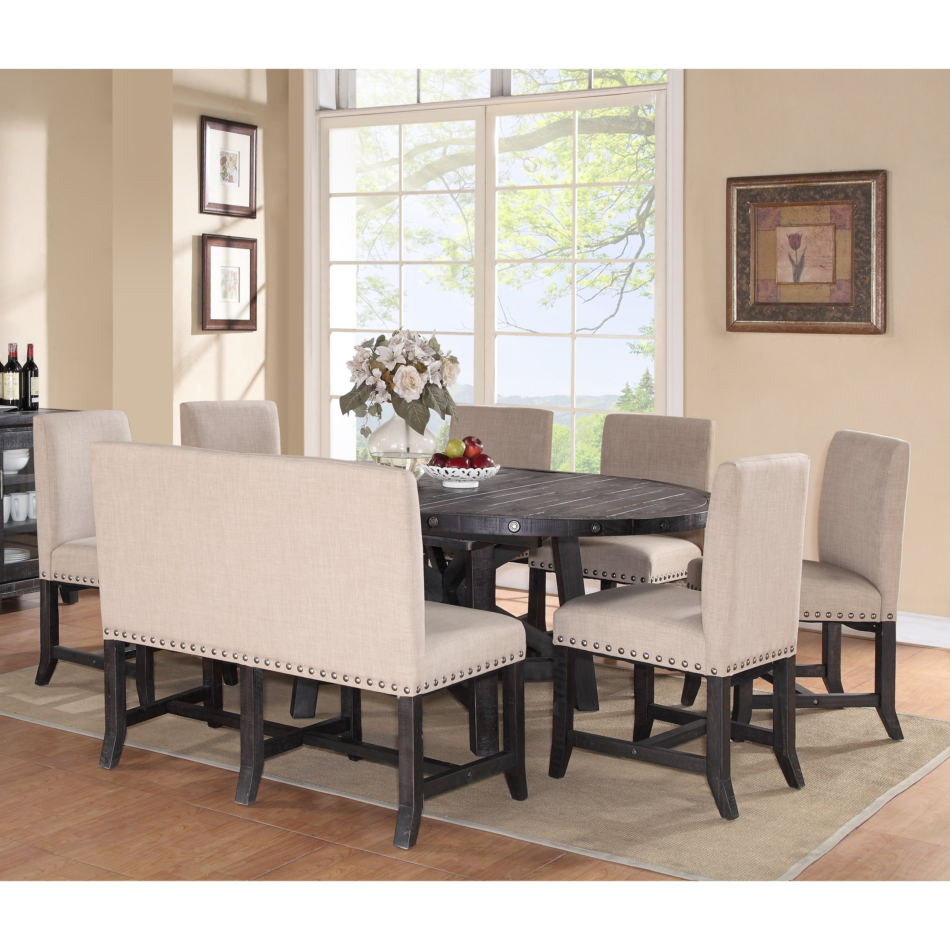 Popular 8 Chairs Dining Sets With Modus Yosemite 8 Piece Oval Dining Table Set With Upholstered Chairs (View 24 of 25)