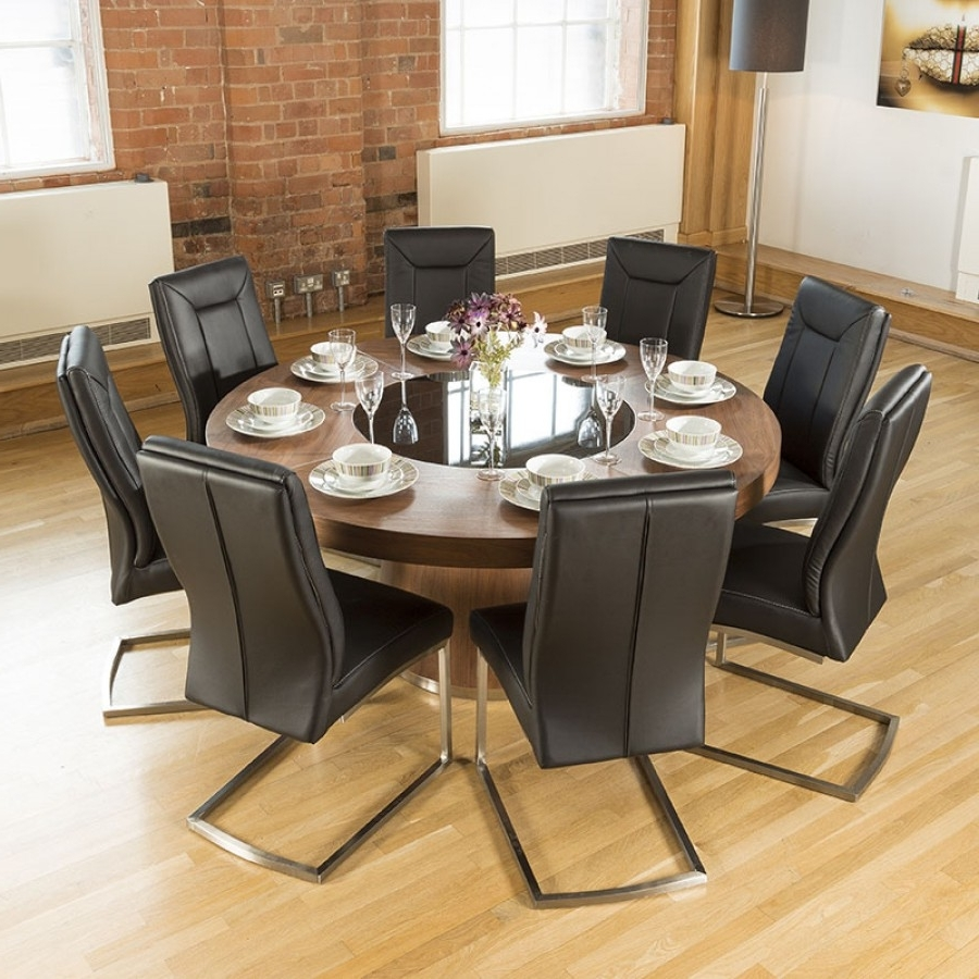 Popular 8 Dining Tables In Luxury Large Round Walnut Dining Table Lazy Susan (View 5 of 25)