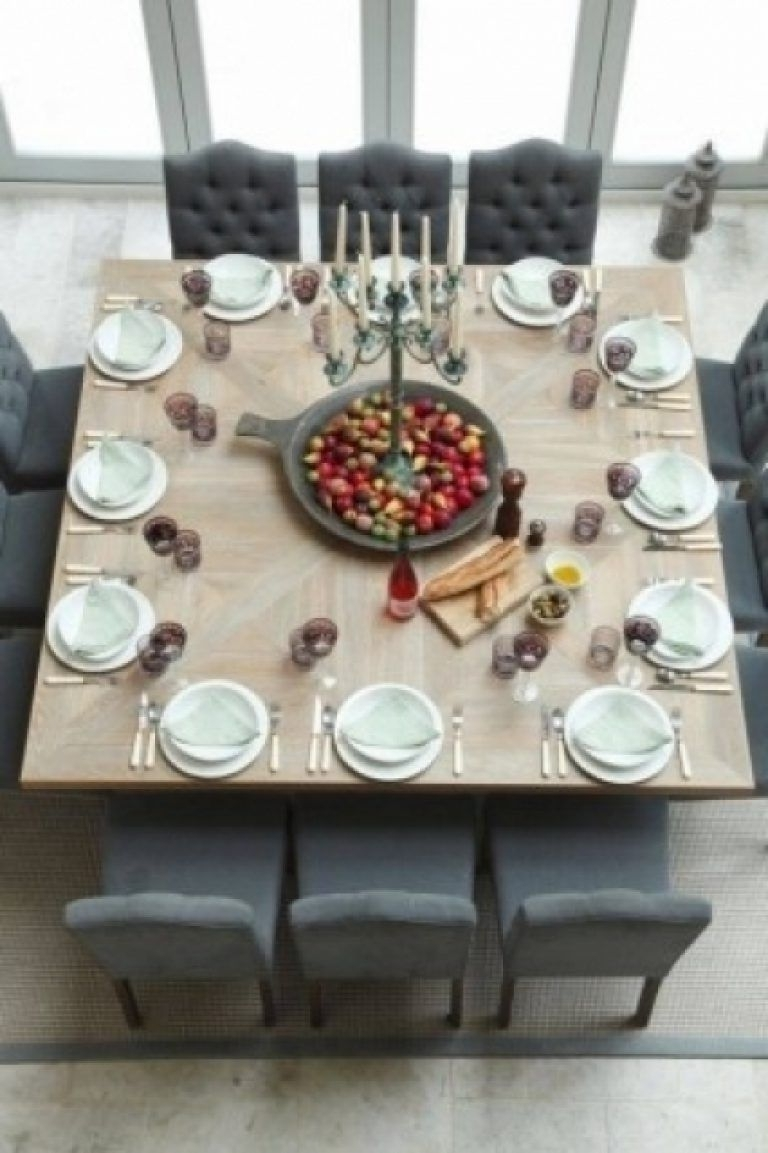 Popular 8 Seat Dining Tables Within 8 Seat Square Dining Table Foter Intended For 12 Seater Square (View 14 of 25)