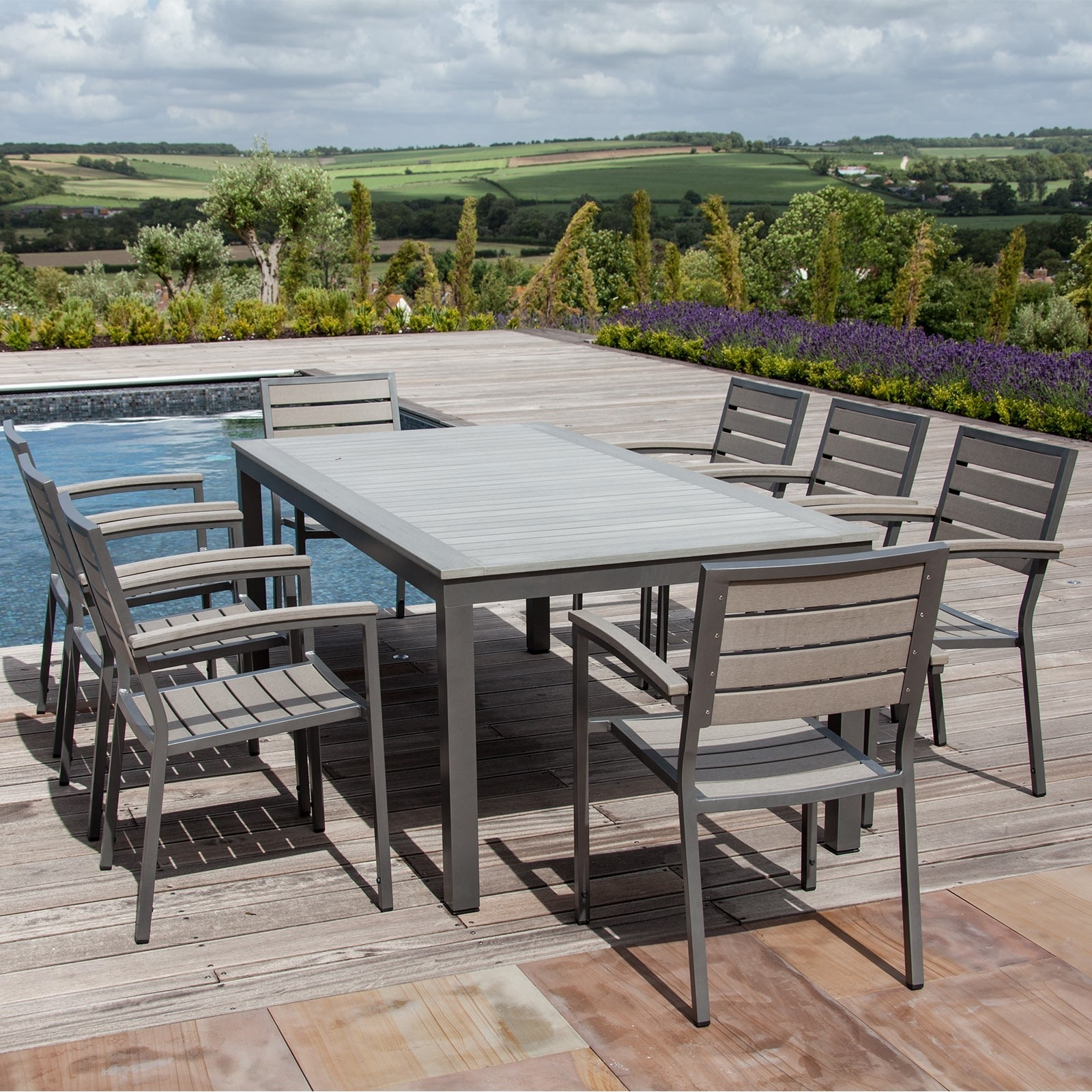 Popular 8 Seat Outdoor Dining Tables With Syn Teak™ 8 Seat Outdoor Dining Set In Dark Walnut – Sets (View 2 of 25)