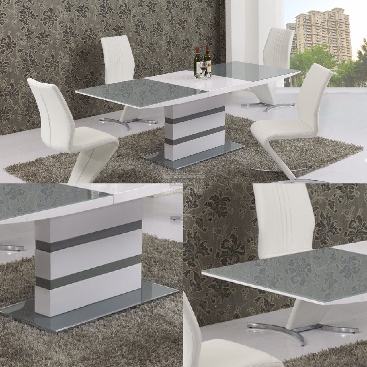 Popular Arctic Grey Glass And White Gloss Extending Dining Table – 160Cm To Pertaining To White Gloss Round Extending Dining Tables (View 14 of 25)