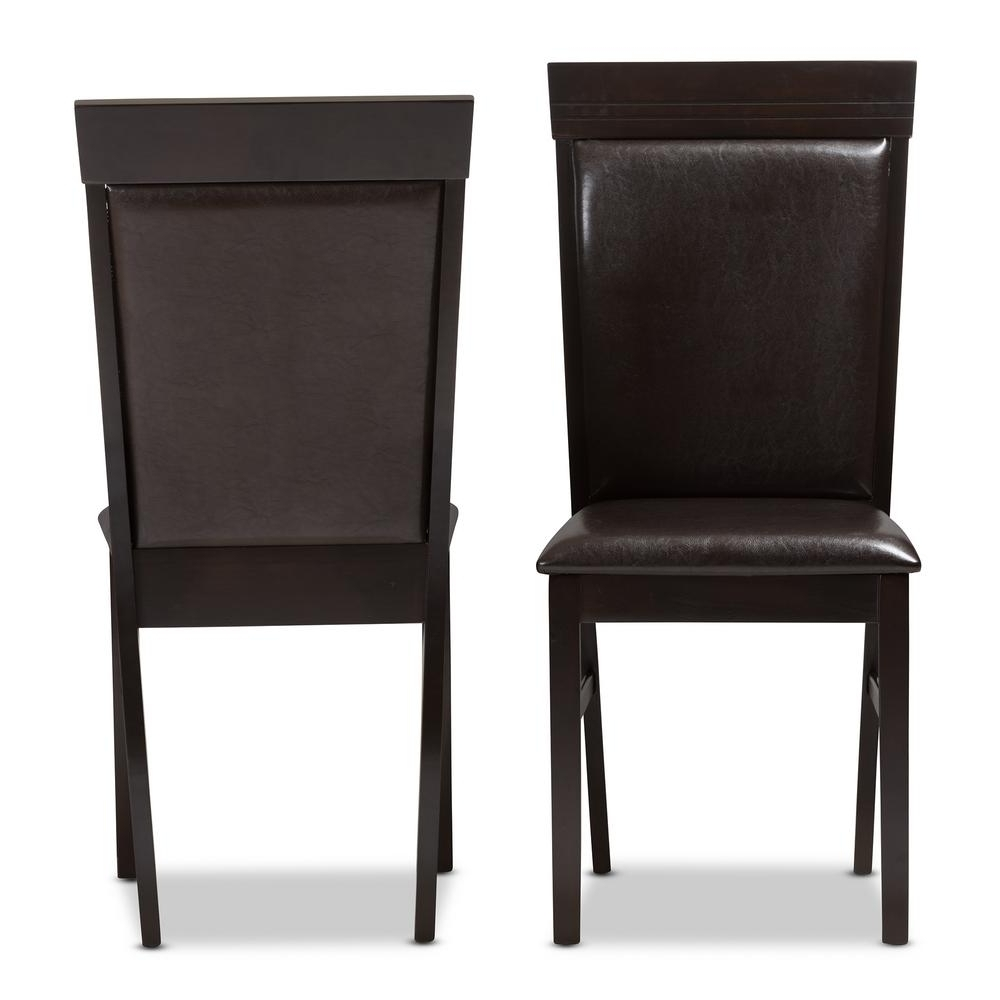Popular Baxton Studio Thea Dark Brown Faux Leather Dining Chair (Set Of 2 Inside Dark Brown Leather Dining Chairs (Gallery 2 of 25)