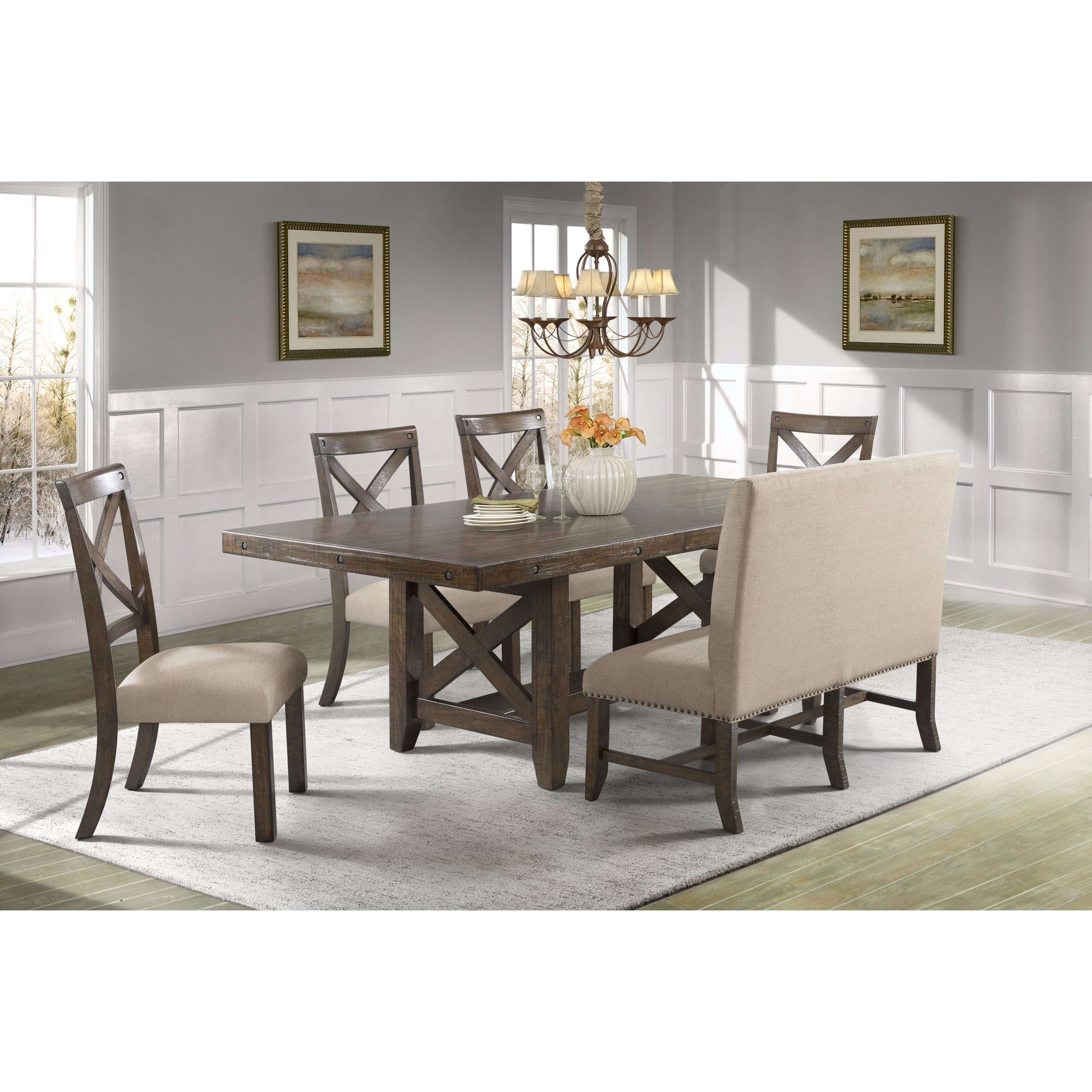 Popular Bench With Back For Dining Tables Within Shop Picket House Furnishings Francis 6Pc Dining Set Table, 4 X Back (View 12 of 25)
