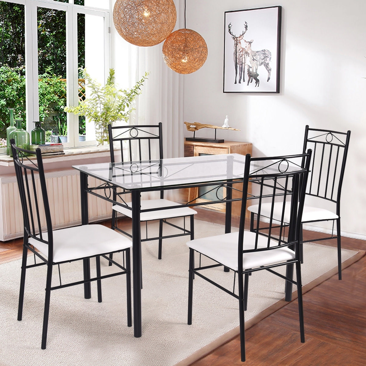 Popular Black Glass Dining Tables And 4 Chairs Pertaining To Costway 5 Piece Dining Set Glass Metal Table And 4 Chairs Kitchen Breakfast Furniture (View 13 of 25)