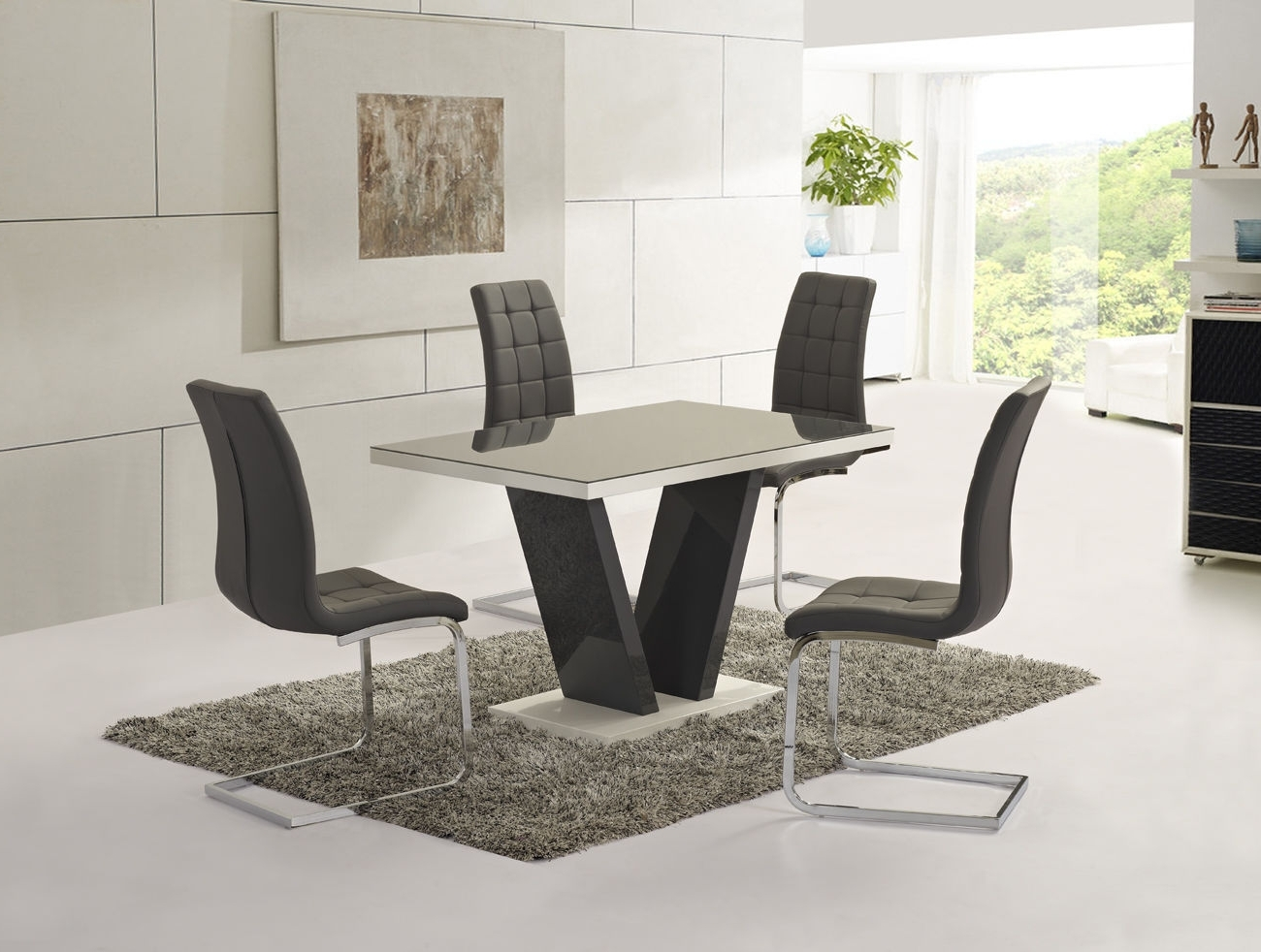 Popular Black Gloss Dining Tables And Chairs Pertaining To Ga Vico Gloss Grey Glass Top Designer 160Cm Dining Set – 4/6 Grey / White  Chairs (Gallery 19 of 25)