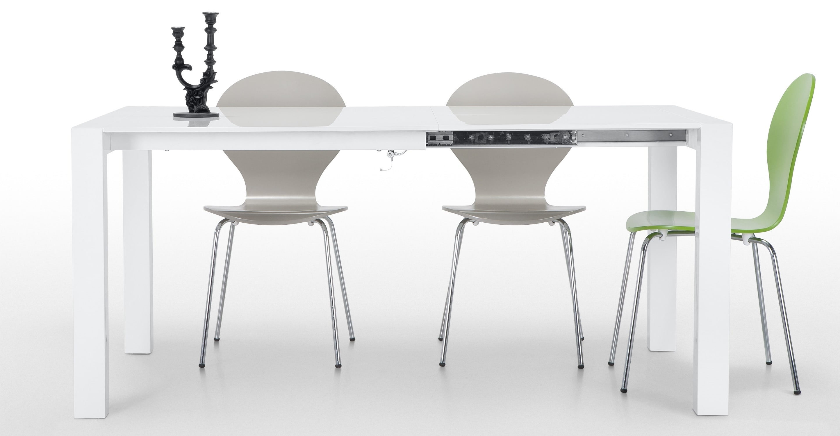 Popular Bramante Square Extending Dining Table, White, White • Sofas Etc Inside White Square Extending Dining Tables (View 12 of 25)