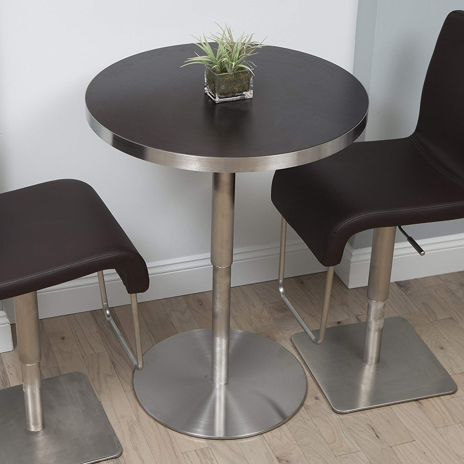 Popular Brushed Metal Dining Tables Inside Amazon – In The Mix Mix Brushed Stainless Steel Round Wood (Gallery 7 of 25)