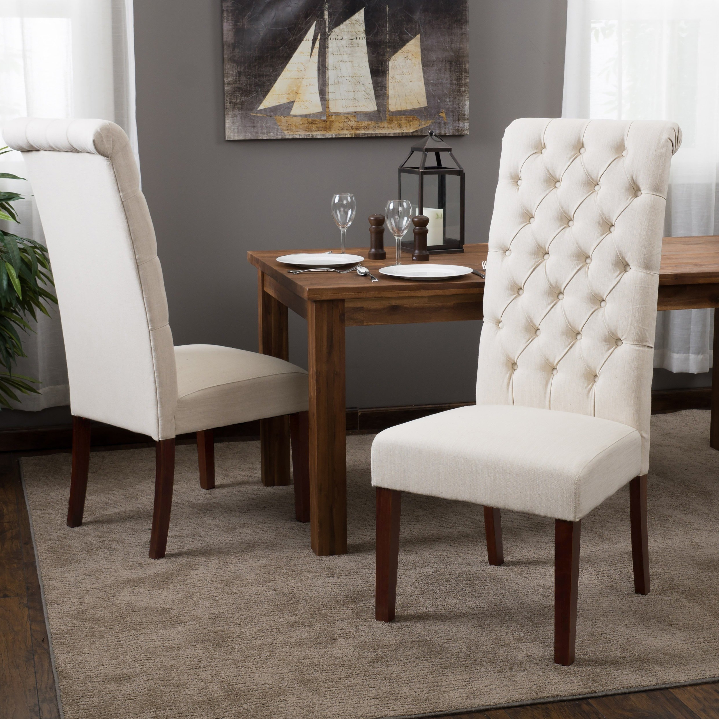 Popular Caira Black 5 Piece Round Dining Sets With Diamond Back Side Chairs Throughout Shop Tall Natural Tufted Fabric Dining Chair (Set Of 2) (Gallery 16 of 25)