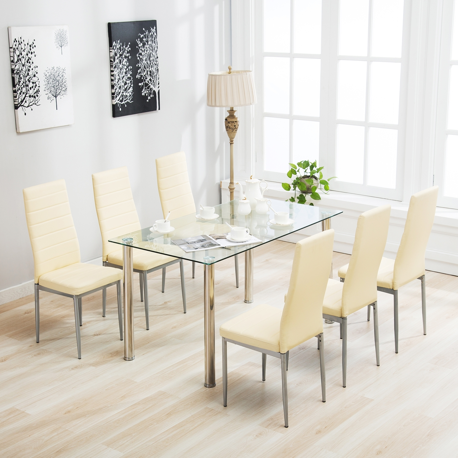 Popular Clear Glass Dining Tables And Chairs With Regard To Details About Kenwell 7 Piece Dining Table Set 6 Chairs Clear Glass Metal  Kitchen Room (View 24 of 25)